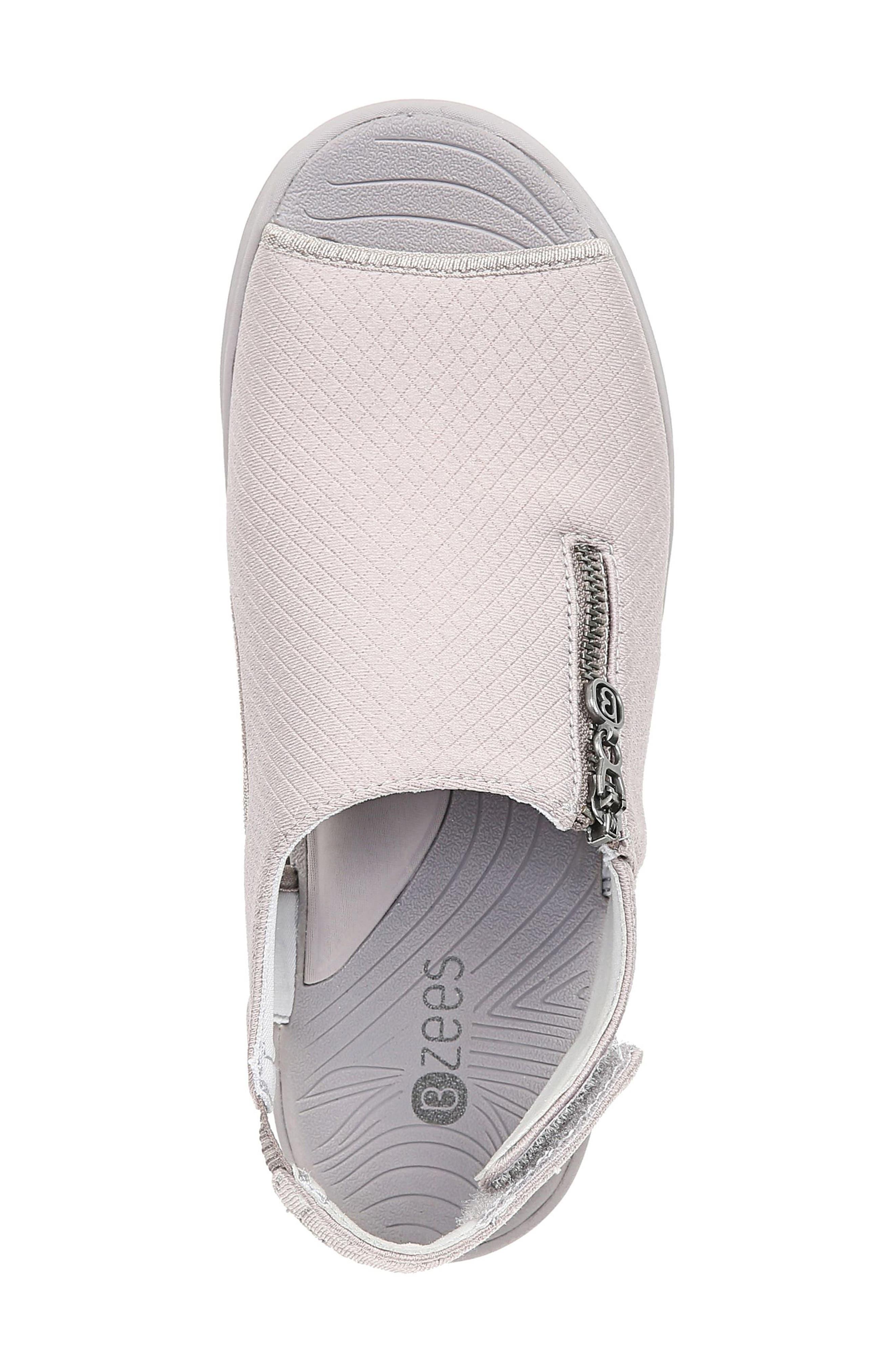 BZEES, Zipline Wedge Sandal, Alternate thumbnail 5, color, OPAL GRAY GRID FABRIC