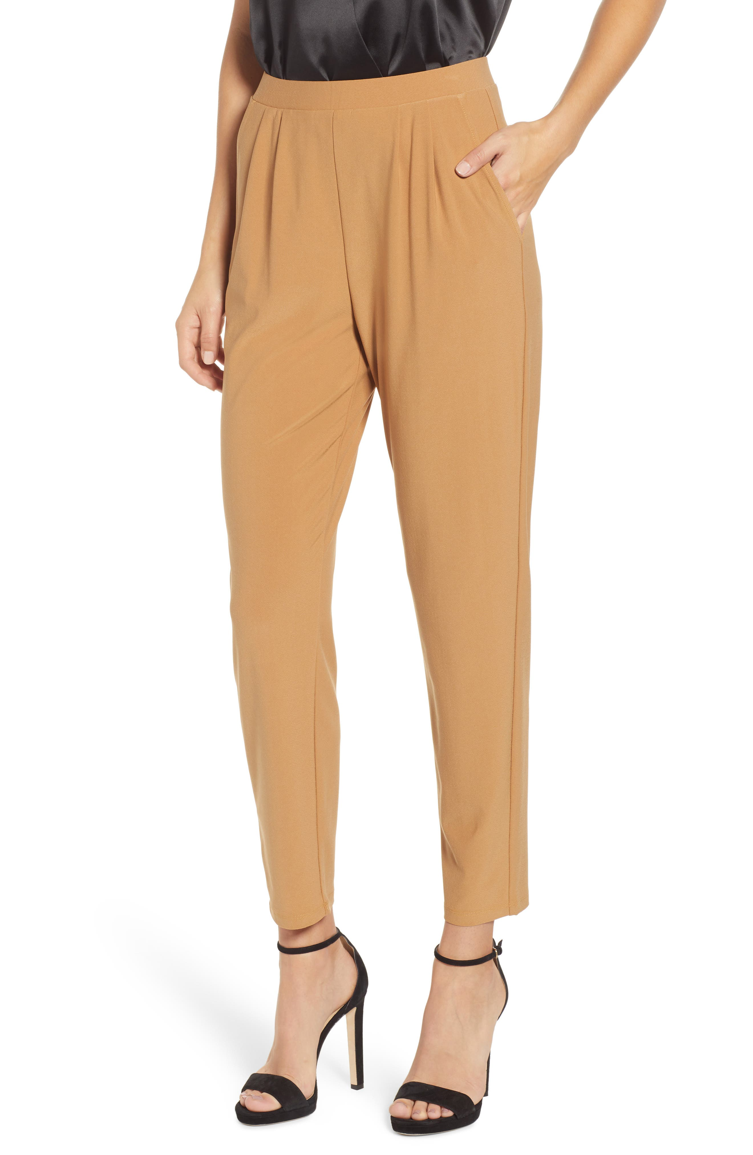 LEITH Pleat Front Trousers, Main, color, TAN DALE