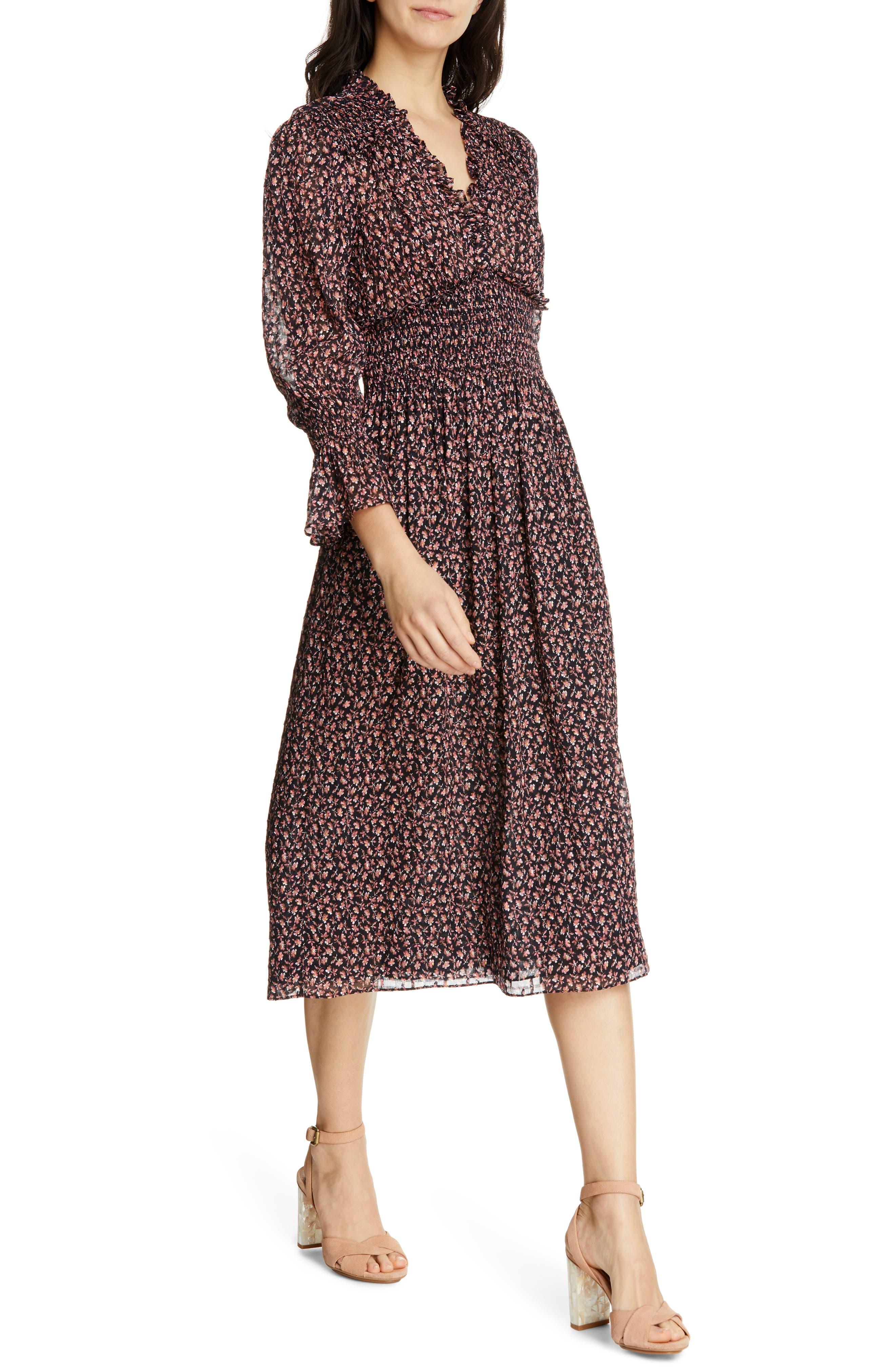 REBECCA TAYLOR, Floral Smock Detail Long Sleeve Silk & Cotton Dress, Alternate thumbnail 4, color, NAVY COMBO