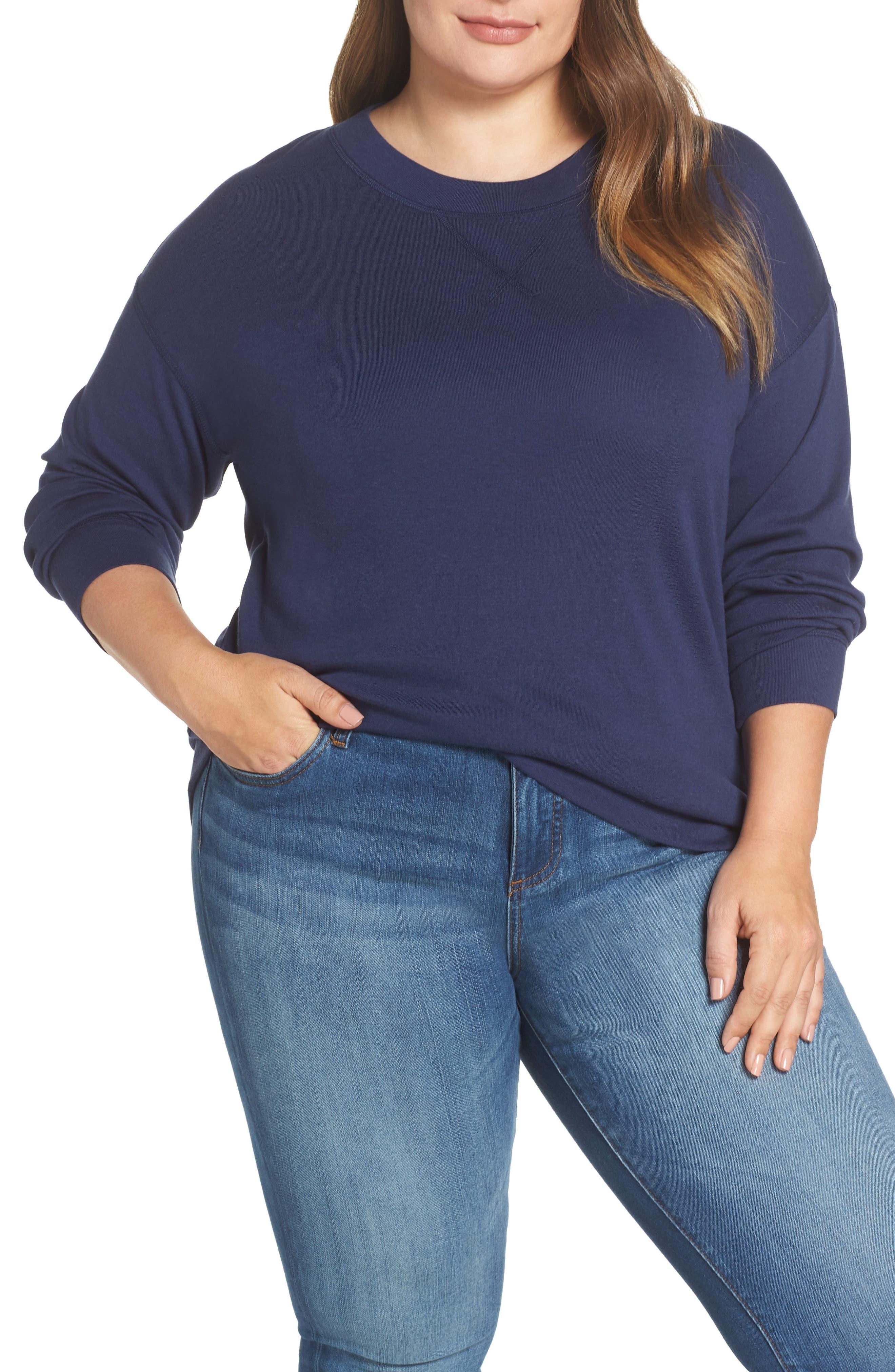 CASLON<SUP>®</SUP> Crewneck Sweatshirt, Main, color, NAVY PEACOAT