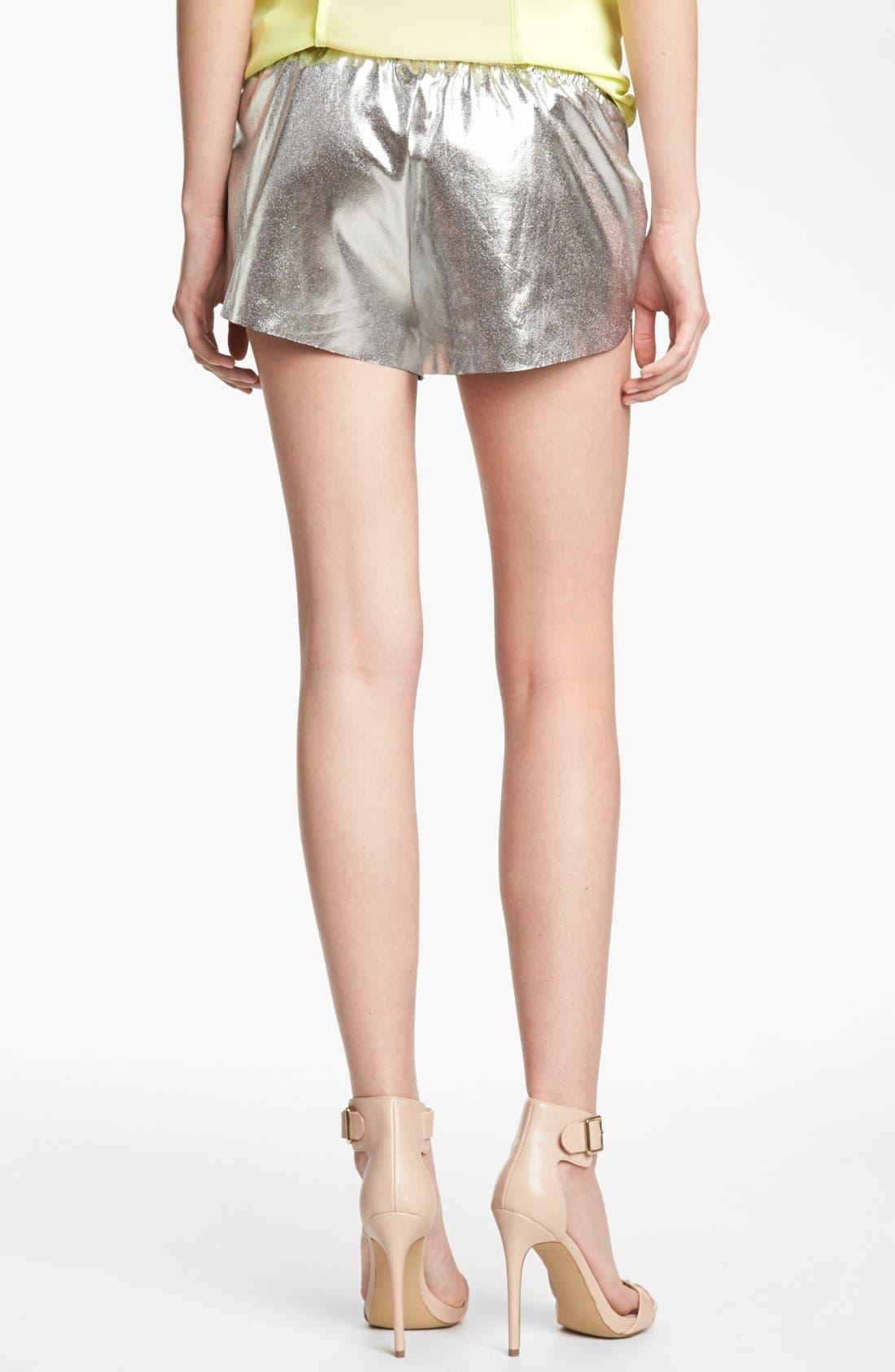 LEITH, 'Cosmic' Metallic Tap Shorts, Alternate thumbnail 2, color, 040