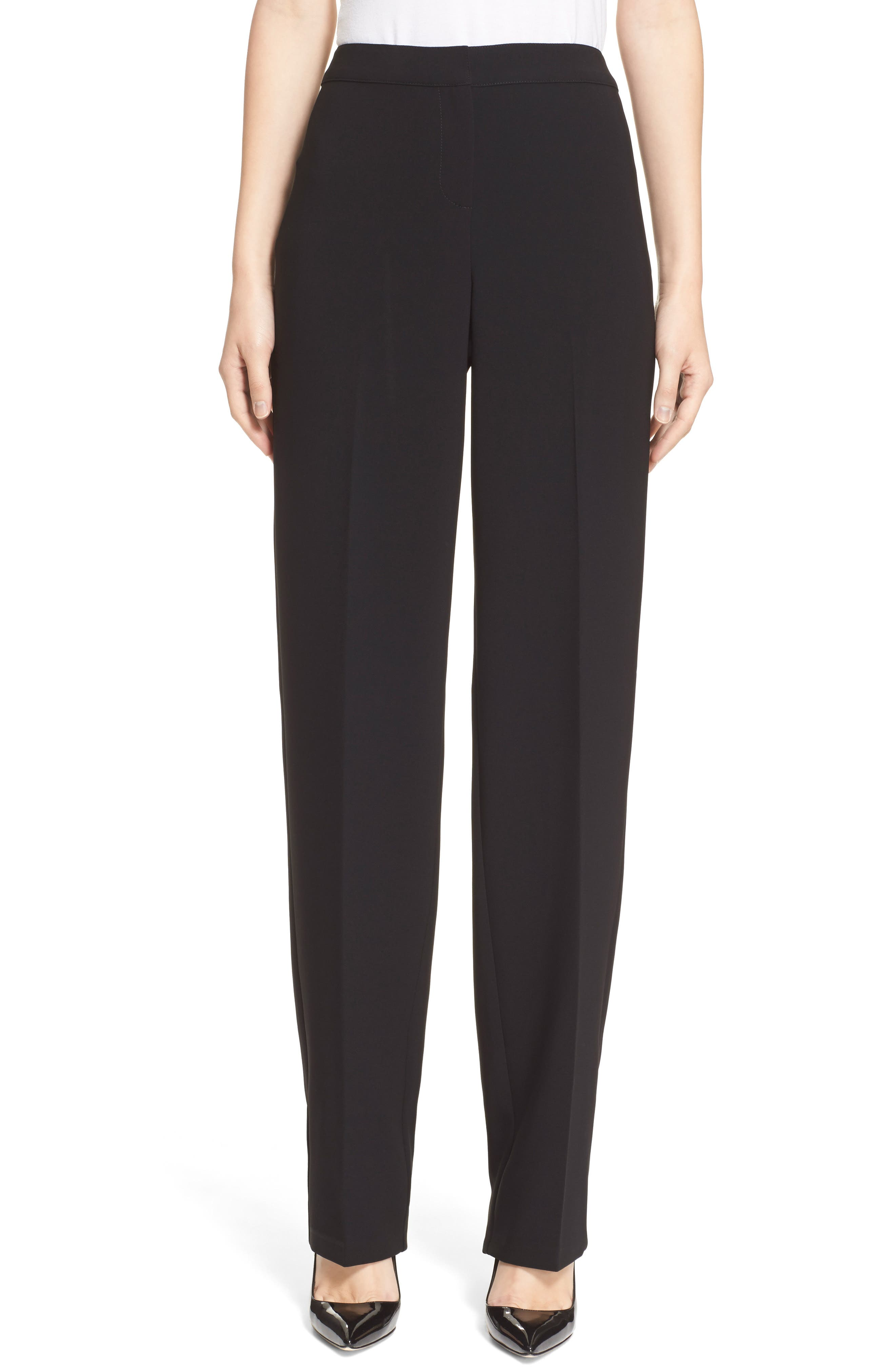 ST. JOHN COLLECTION, Diana Straight Leg Crepe Marocain Pants, Alternate thumbnail 2, color, CAVIAR
