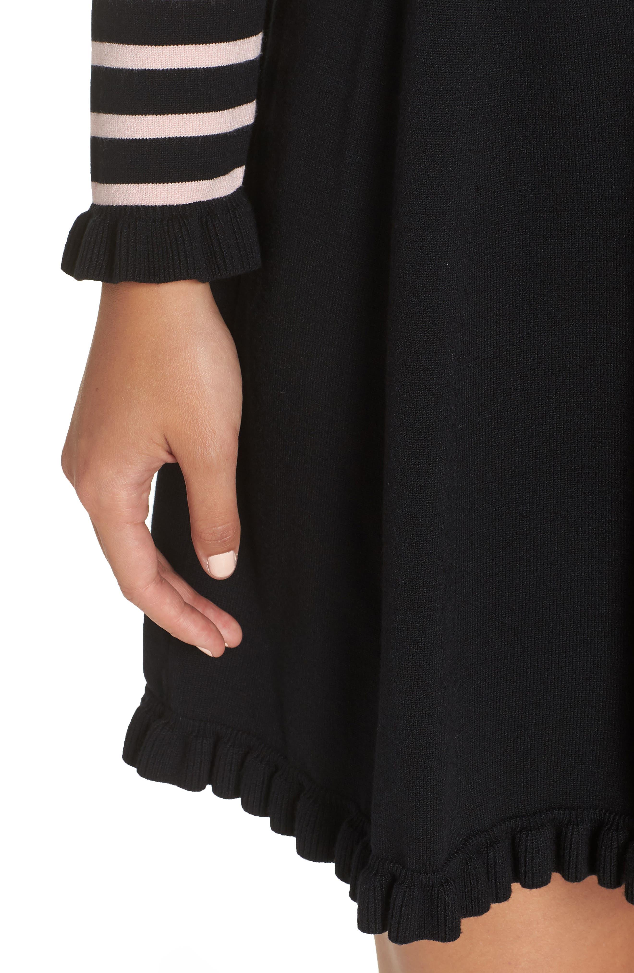 1901, Mock Neck Stripe Sweater Dress, Alternate thumbnail 5, color, BLACK- PINK STRIPE
