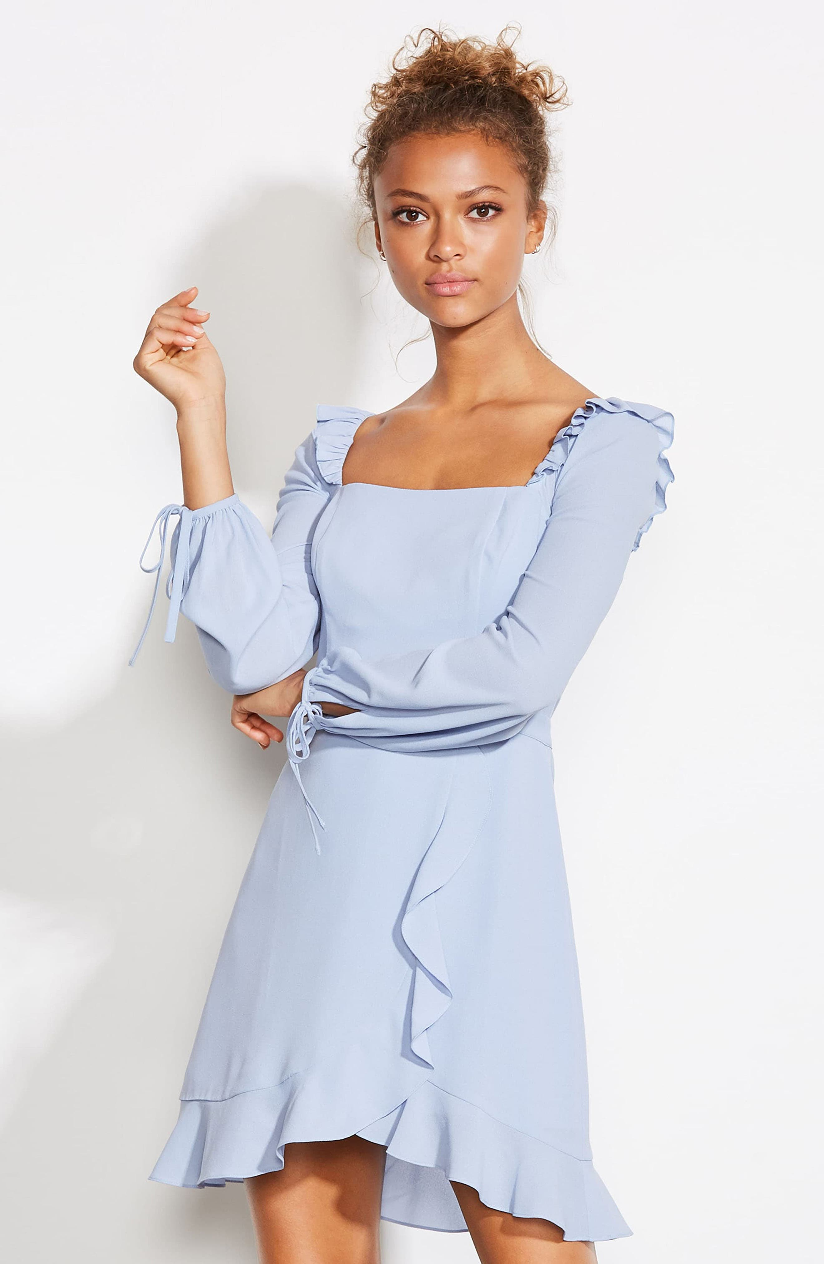 ALI & JAY, In Bloom Georgette Asymmetrical Dress, Alternate thumbnail 8, color, CHAMBRAY