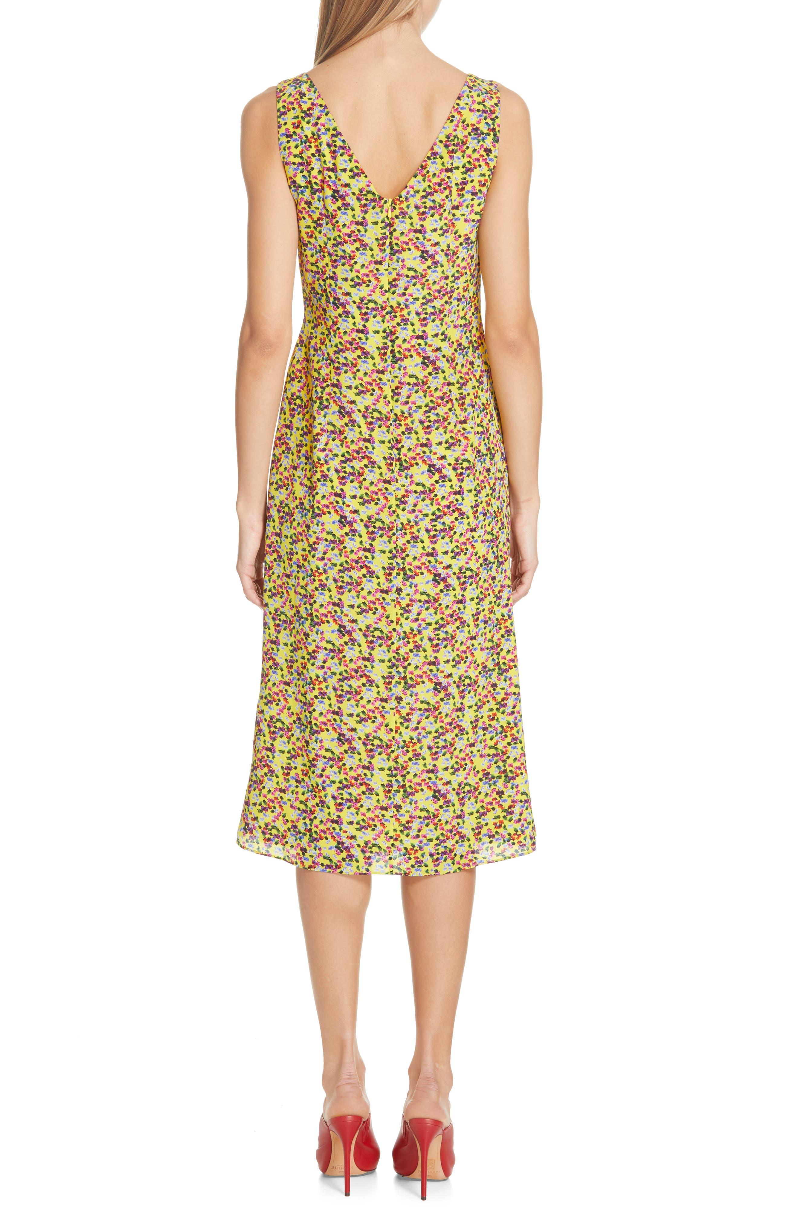 SALONI, Penelope Floral Print Silk Midi Dress, Alternate thumbnail 2, color, YELLOW GARDENIA
