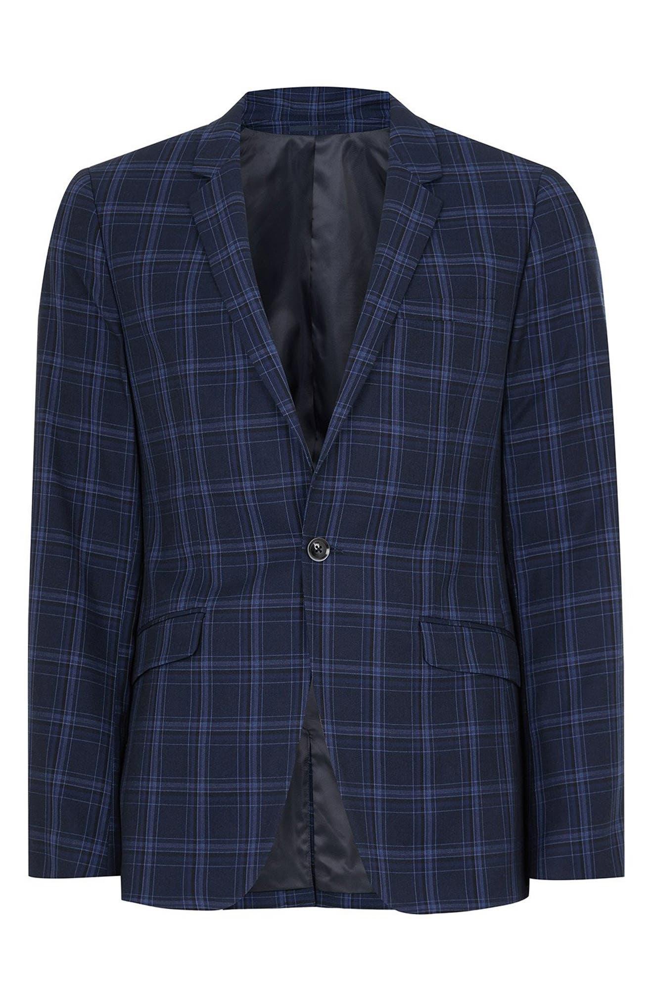 TOPMAN, Skinny Fit Check Suit Jacket, Alternate thumbnail 4, color, 400