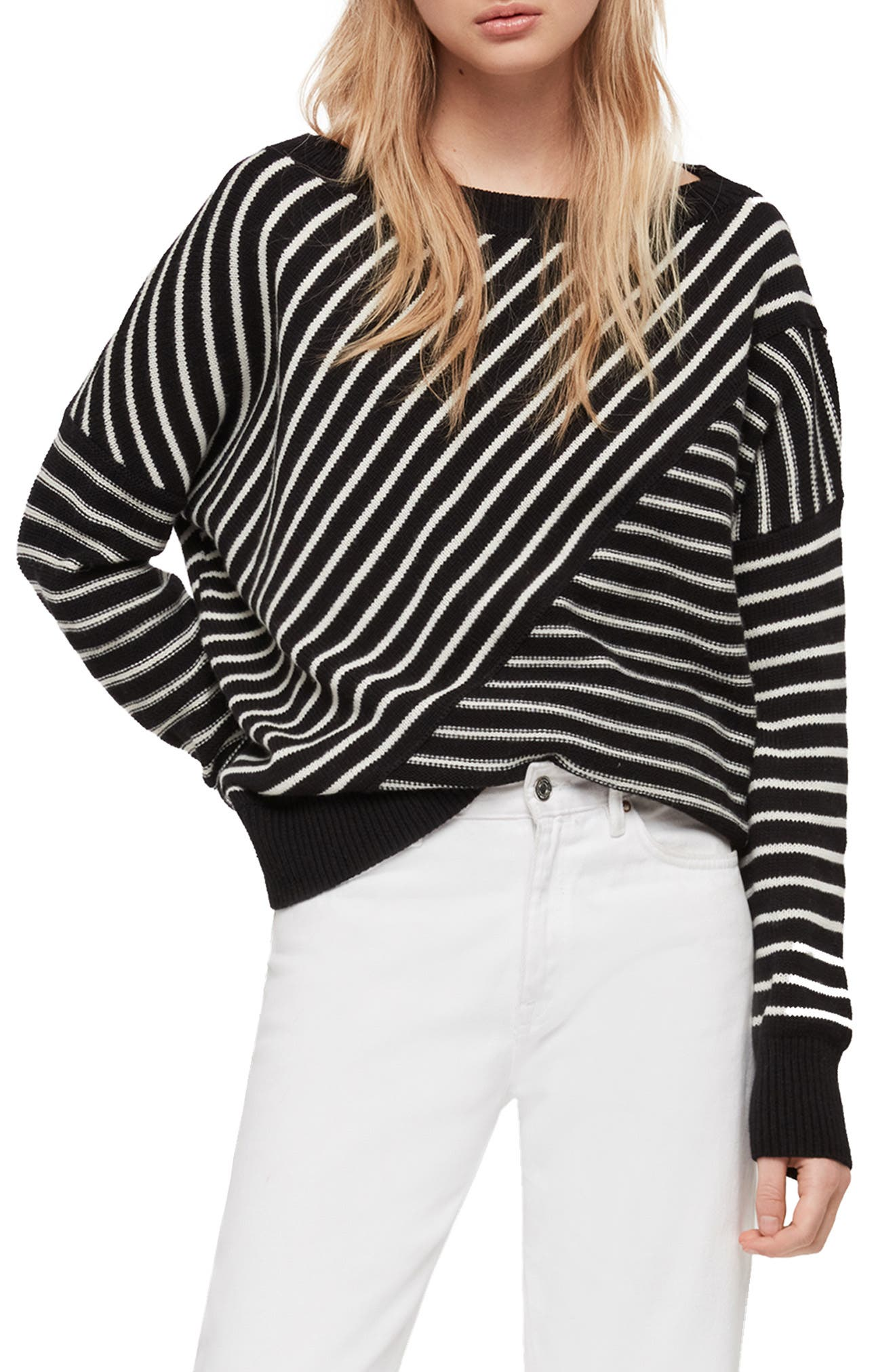 ALLSAINTS, Vani Sweater, Main thumbnail 1, color, BLACK/ CHALK WHITE
