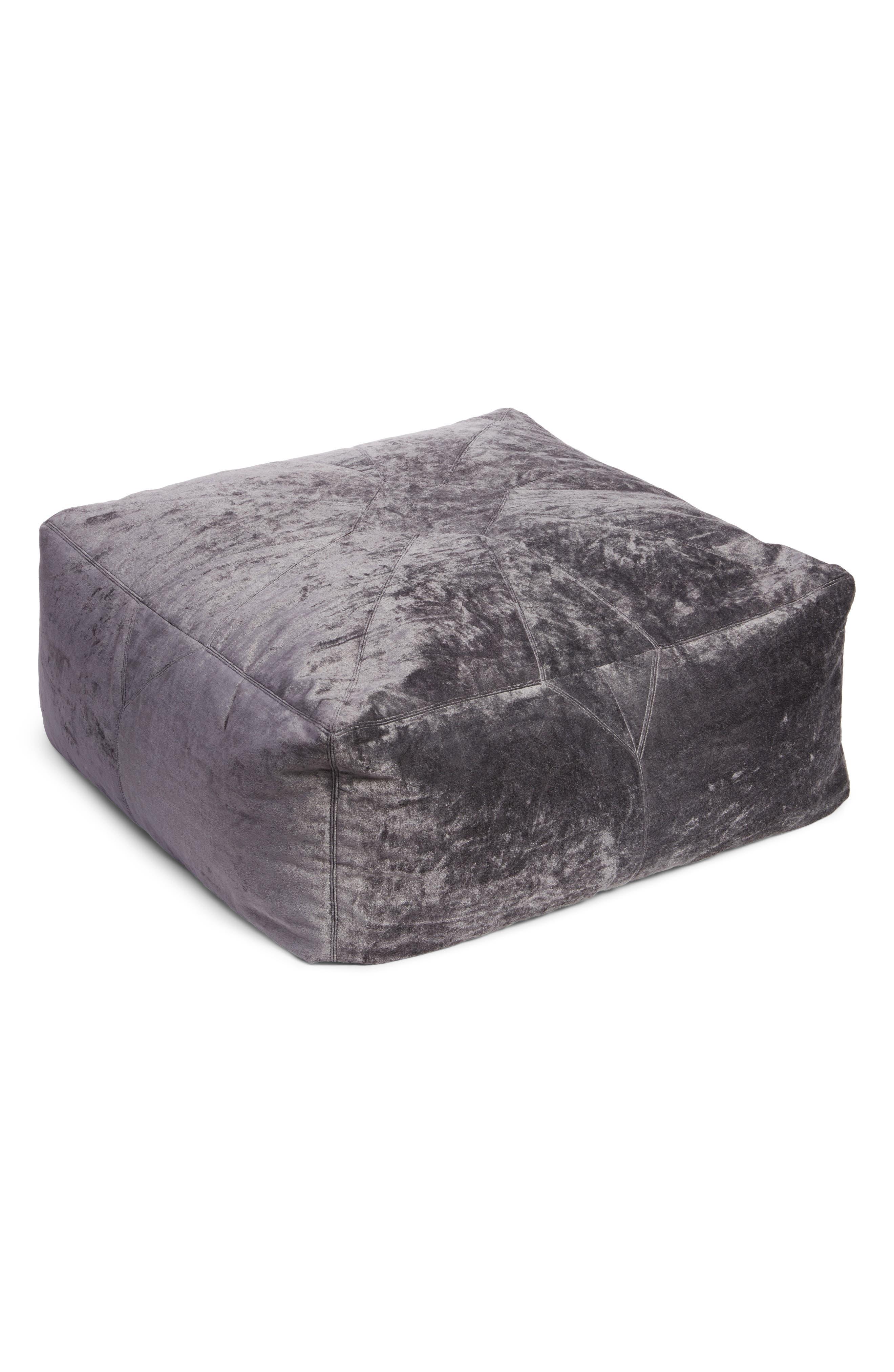 NORDSTROM AT HOME Shimmer Velvet Pouf, Main, color, GREY FROST