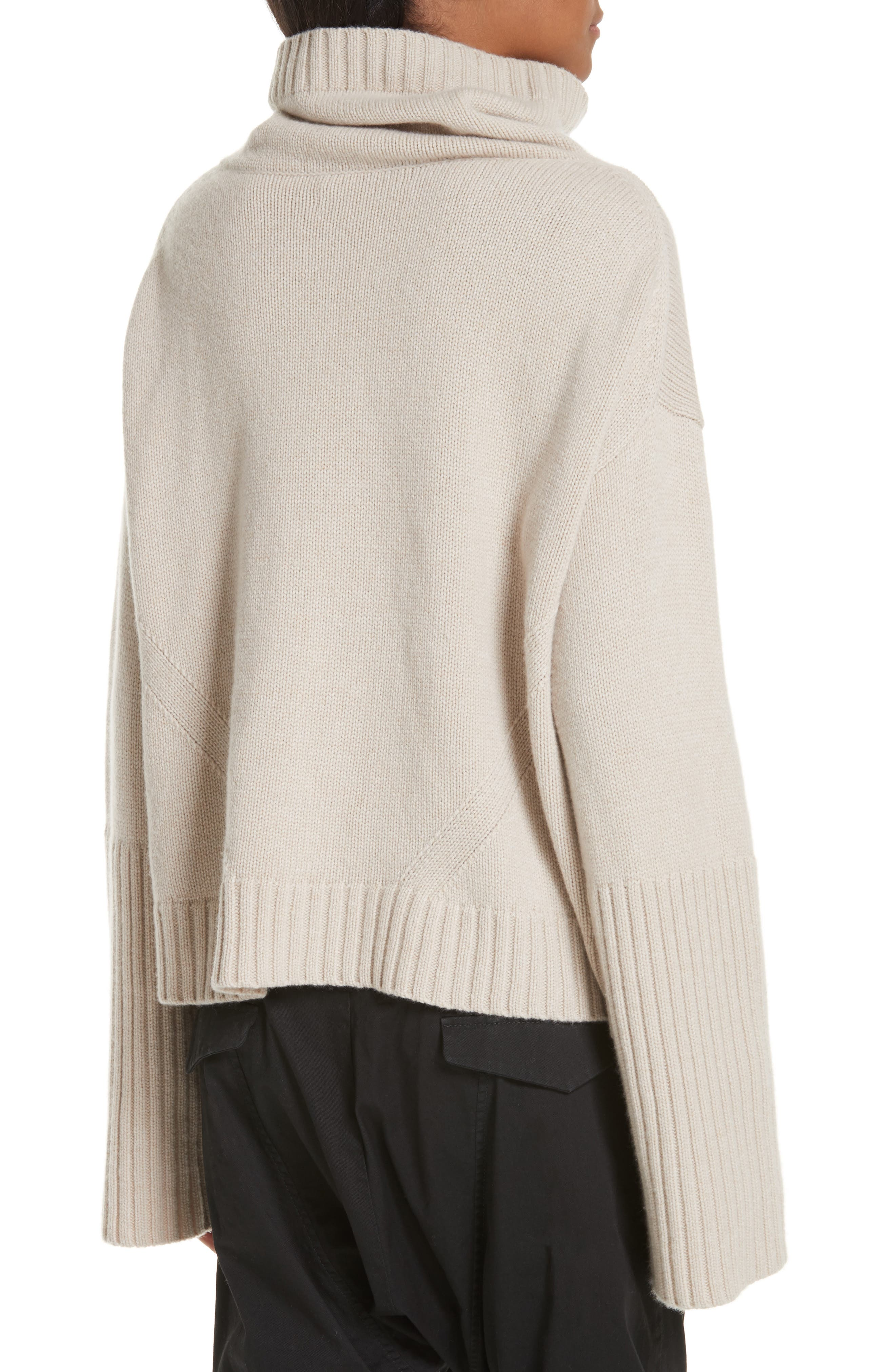 NILI LOTAN, Boyd Cashmere Cowl Neck Sweater, Alternate thumbnail 2, color, LIGHT TAUPE