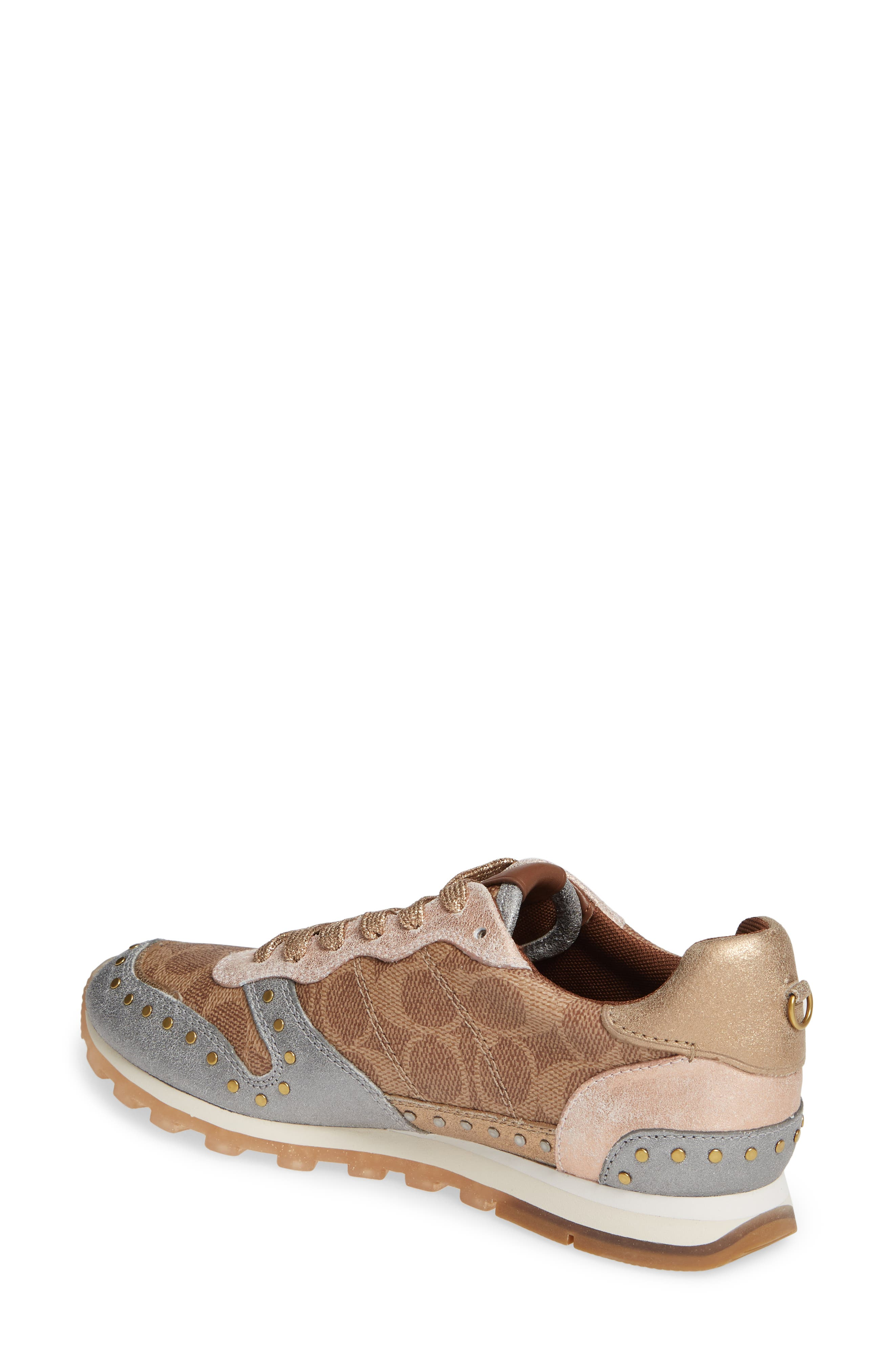 COACH, C118 Studded Sneaker, Alternate thumbnail 2, color, TAN/ GOLD MULTI