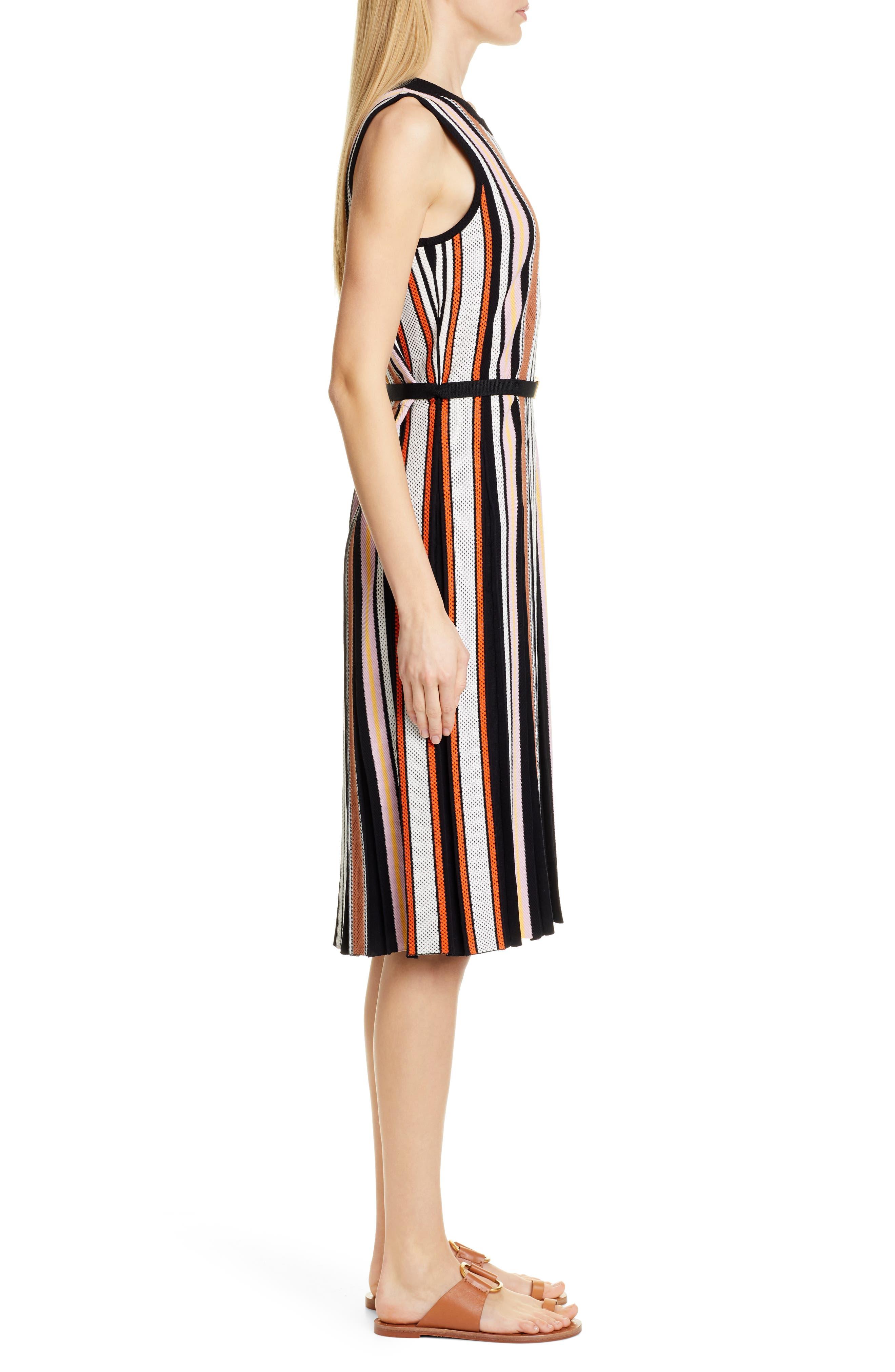 TORY BURCH, Stripe Sweater Dress, Alternate thumbnail 3, color, WEBBING STRIPE