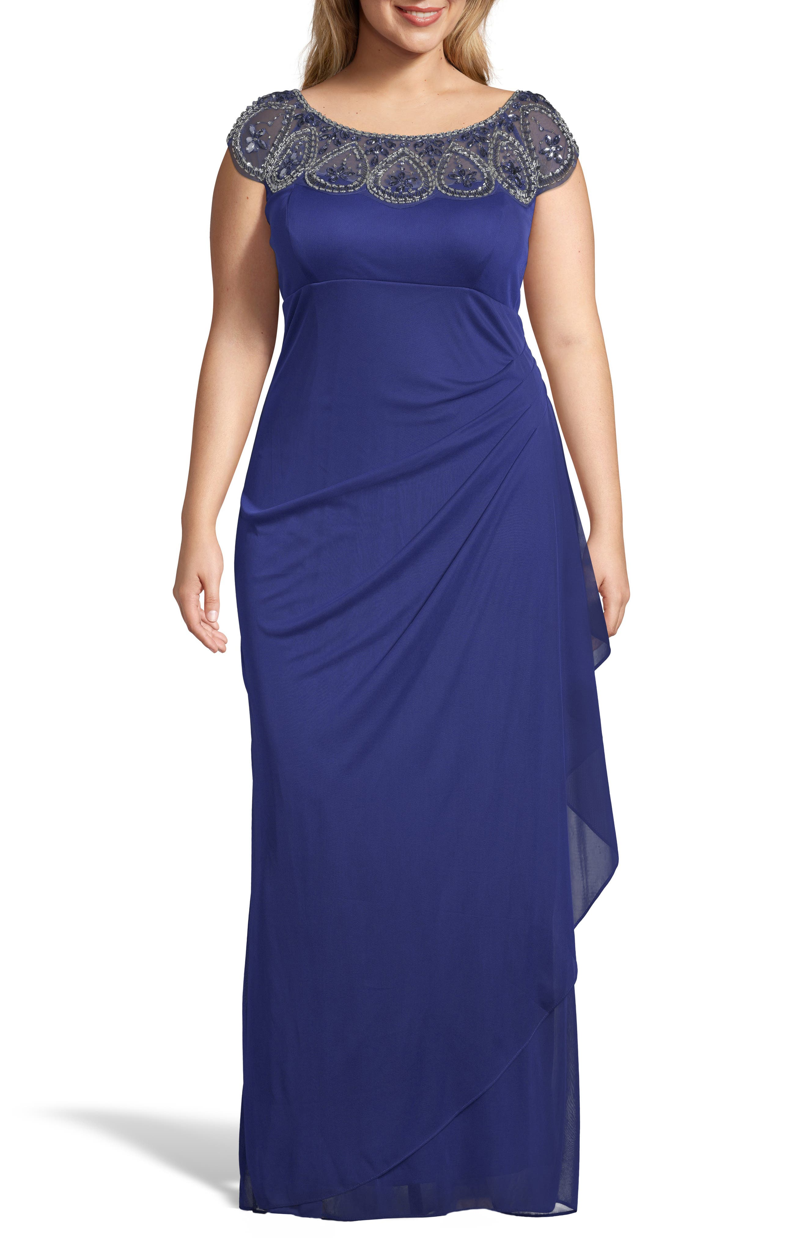 XSCAPE, Beaded Neck Empire Gown, Main thumbnail 1, color, ROYAL