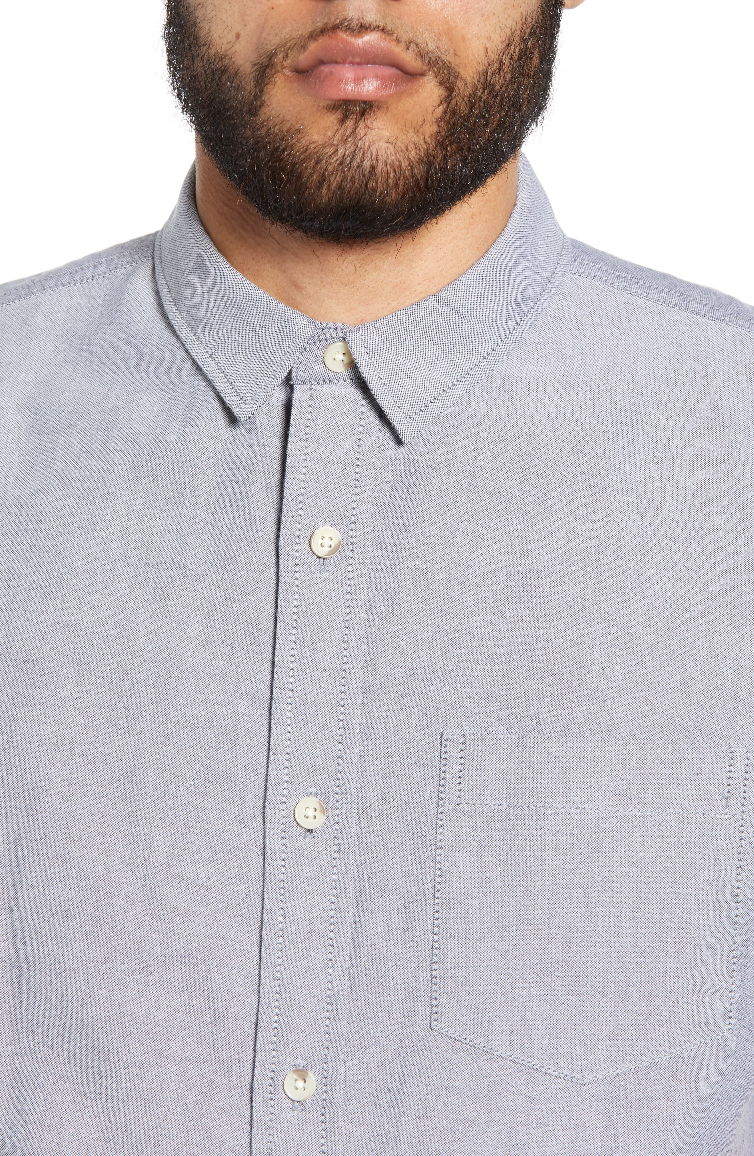 THE RAIL, Oxford Cloth Woven Shirt, Alternate thumbnail 2, color, BLACK ROCK-WHITE
