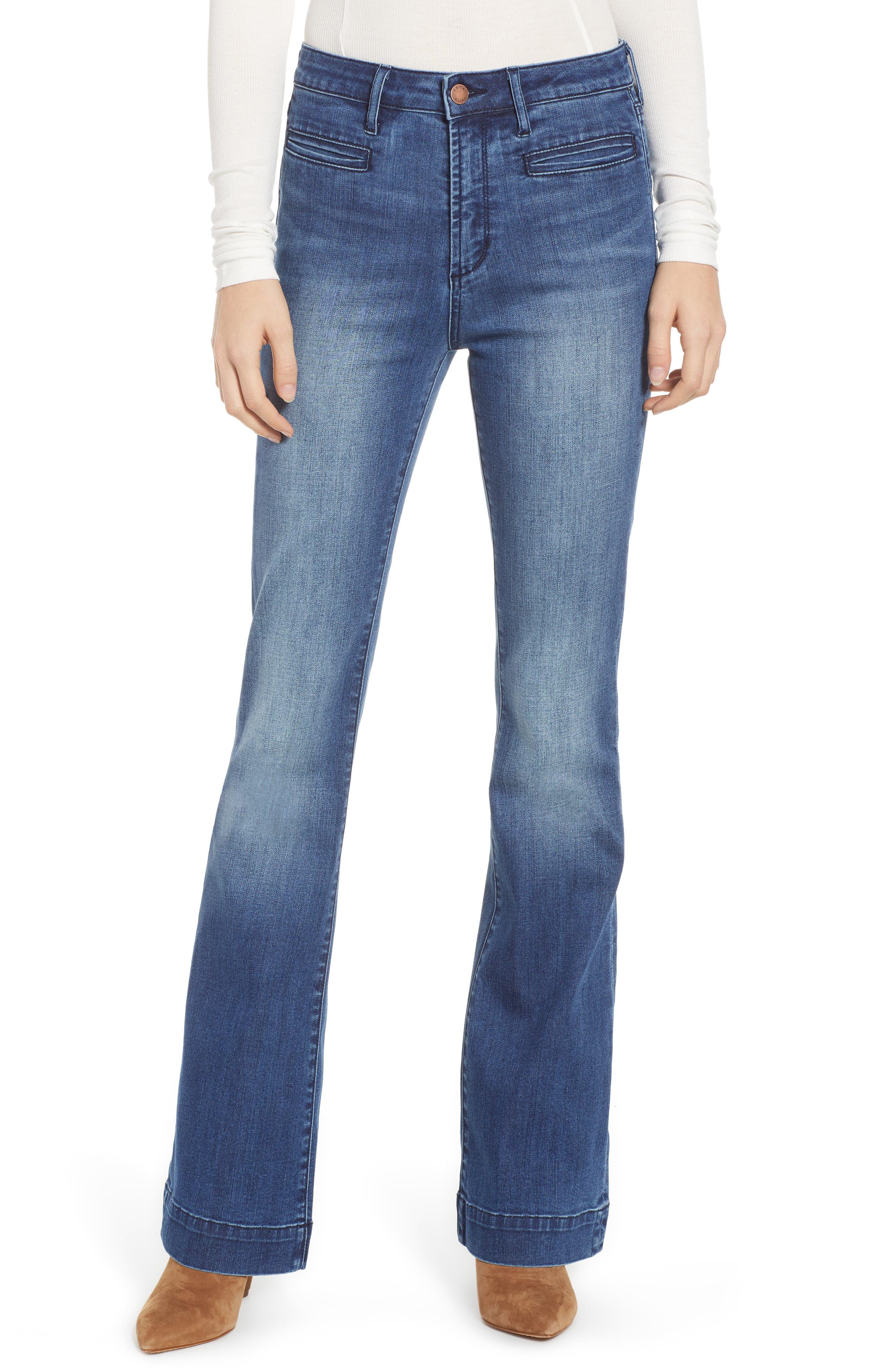 LEITH, High Waist Flare Jeans, Main thumbnail 1, color, MEDIUM WASH