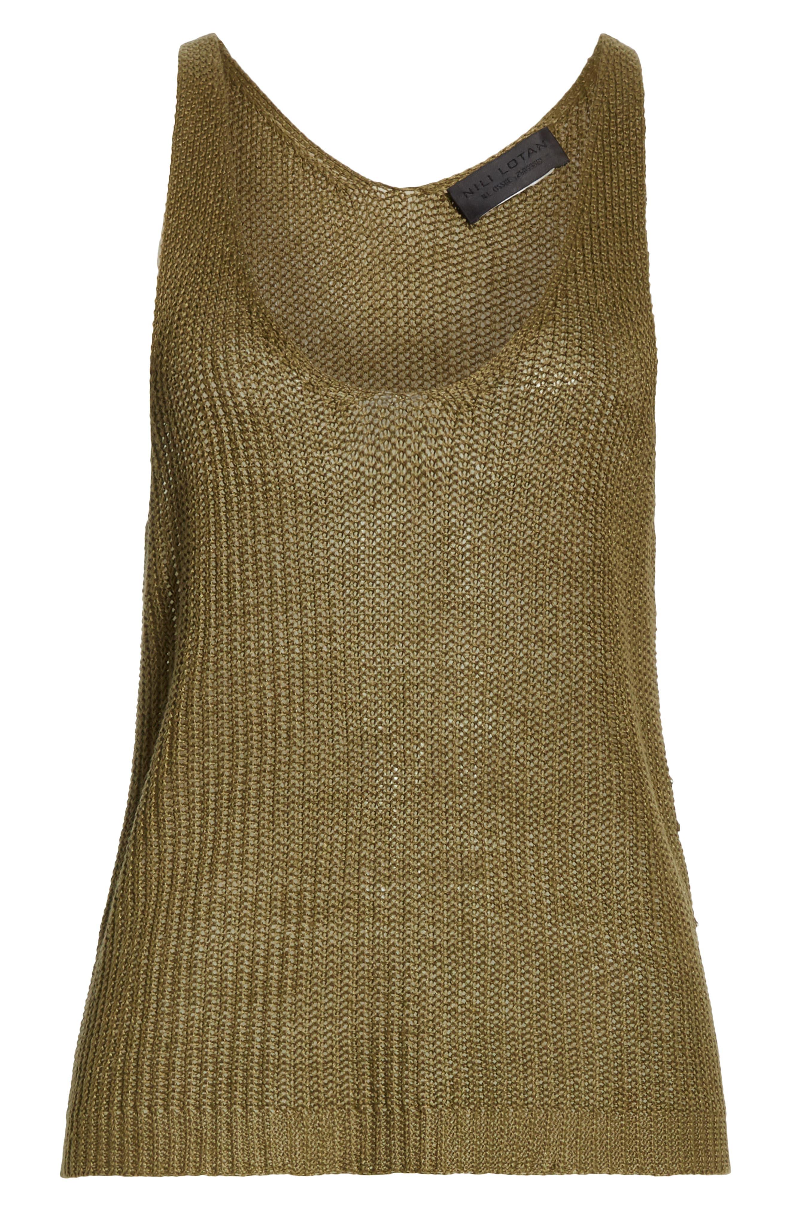 NILI LOTAN, Nala Linen Sweater Tank, Alternate thumbnail 6, color, OLIVE