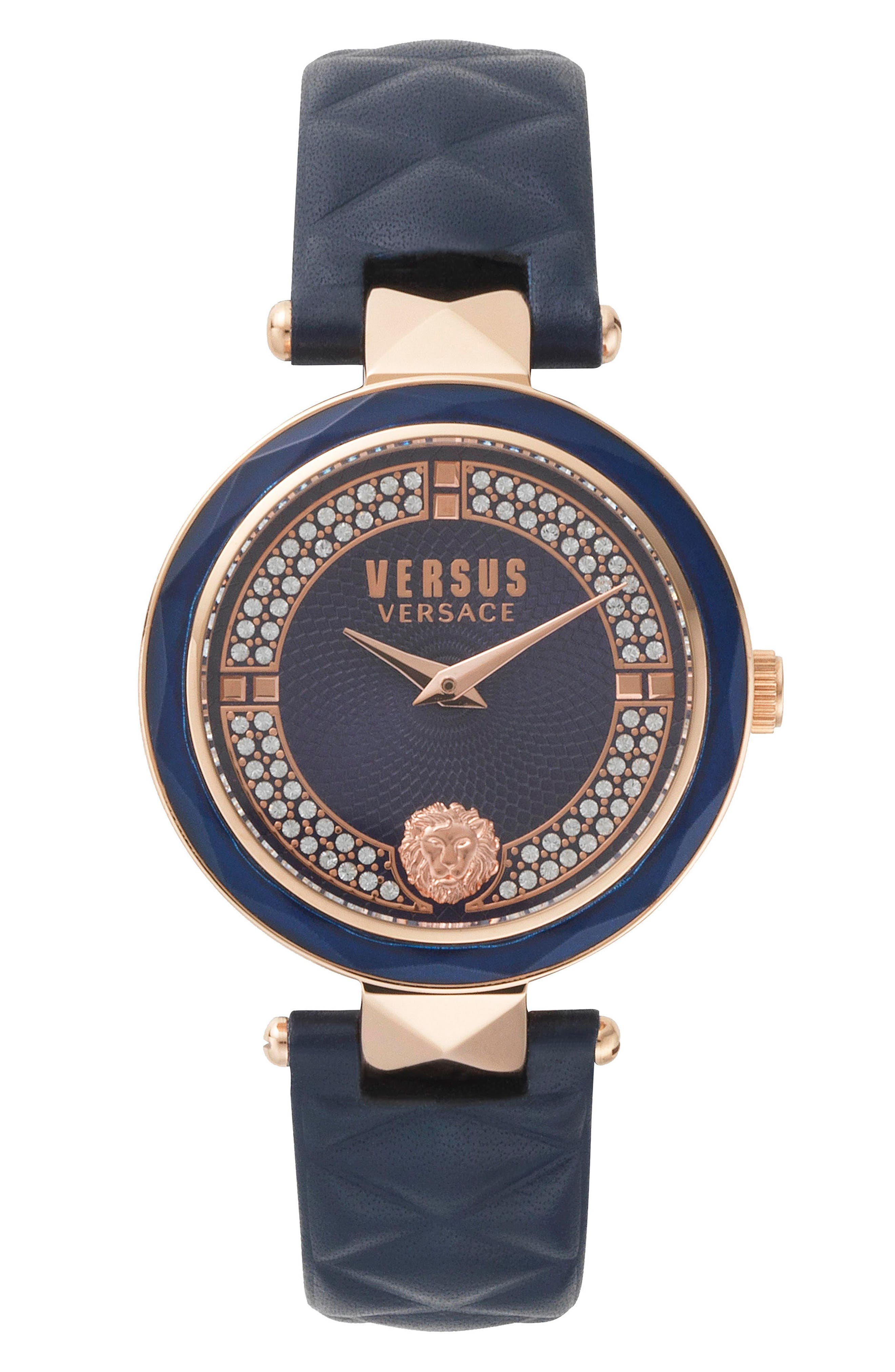 VERSUS VERSACE Covent Garden Crystal Accent Leather Strap Watch, 36mm, Main, color, BLUE/ ROSE GOLD