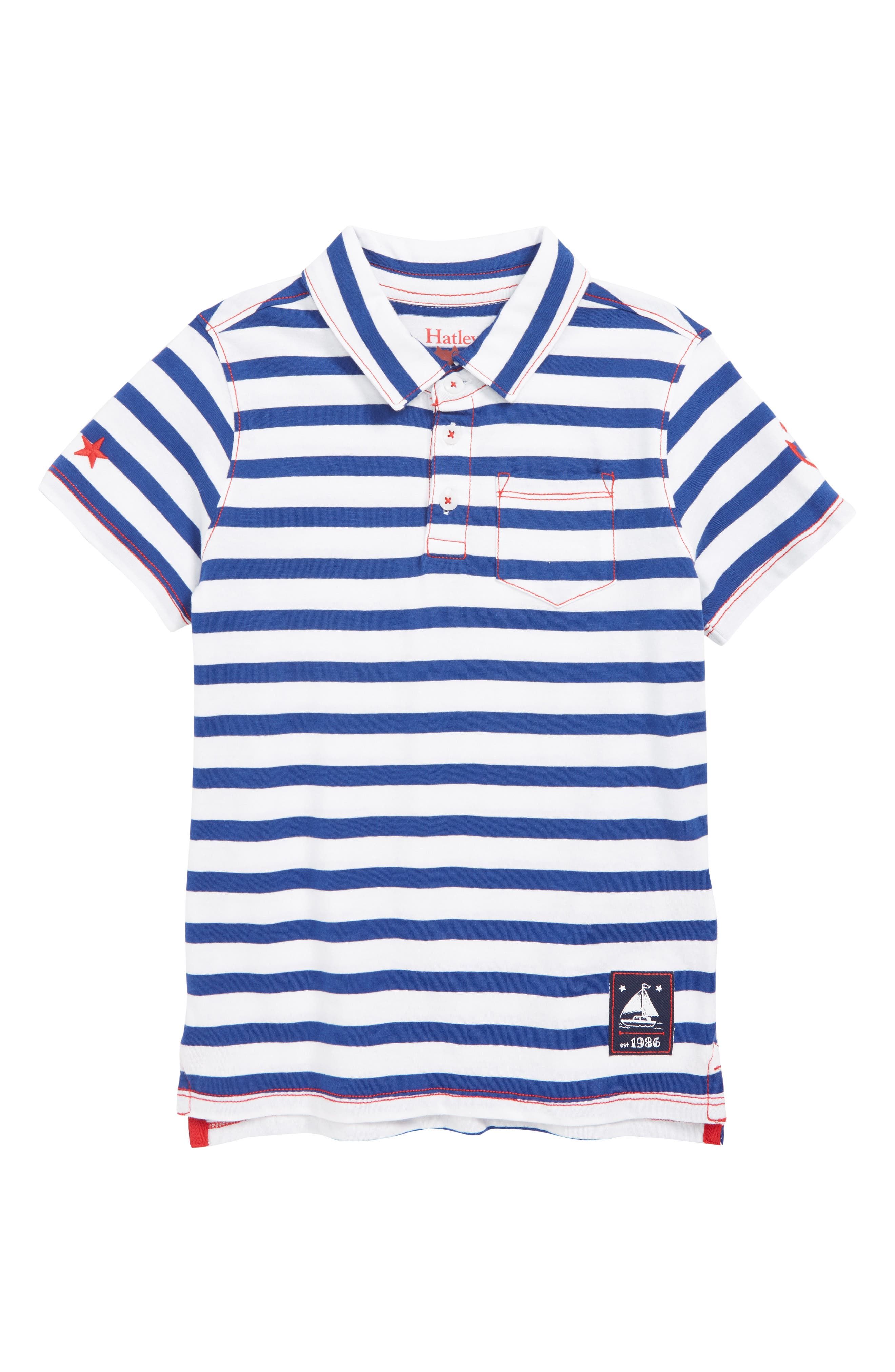 HATLEY Nautical Stripes Polo, Main, color, WHITE