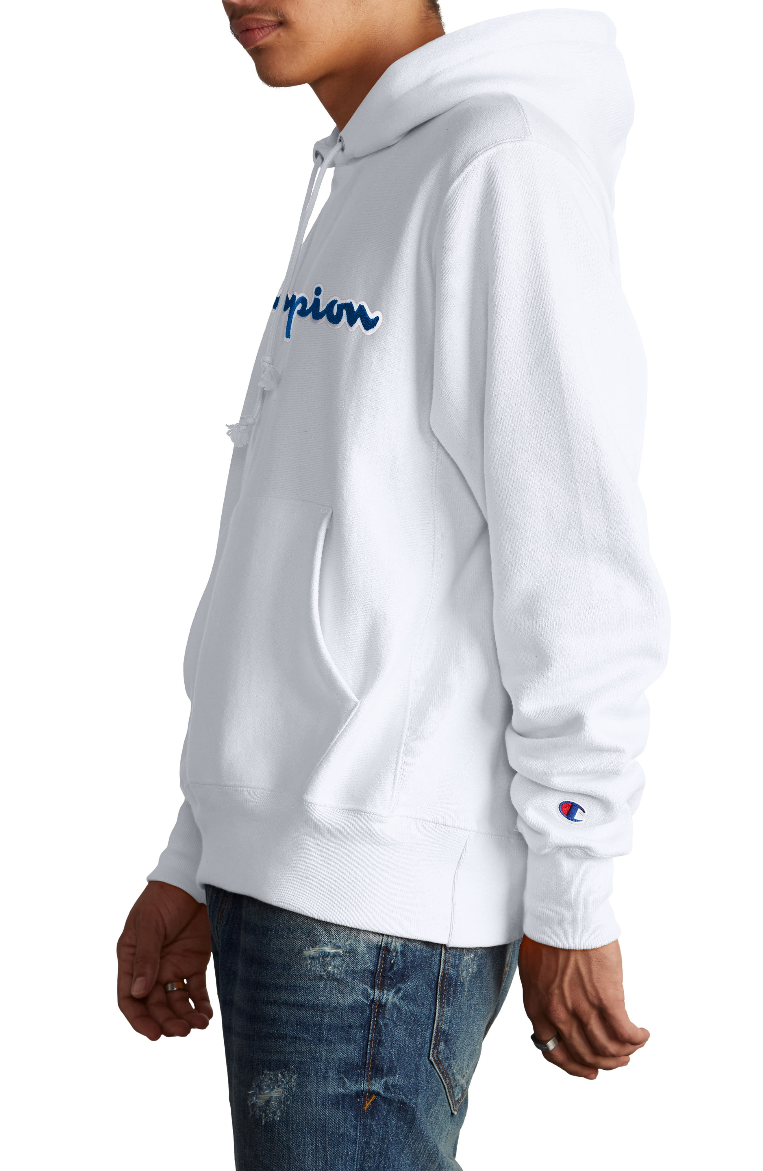 CHAMPION, Reverse Weave<sup>®</sup> Chenille Logo Hoodie, Alternate thumbnail 3, color, WHITE