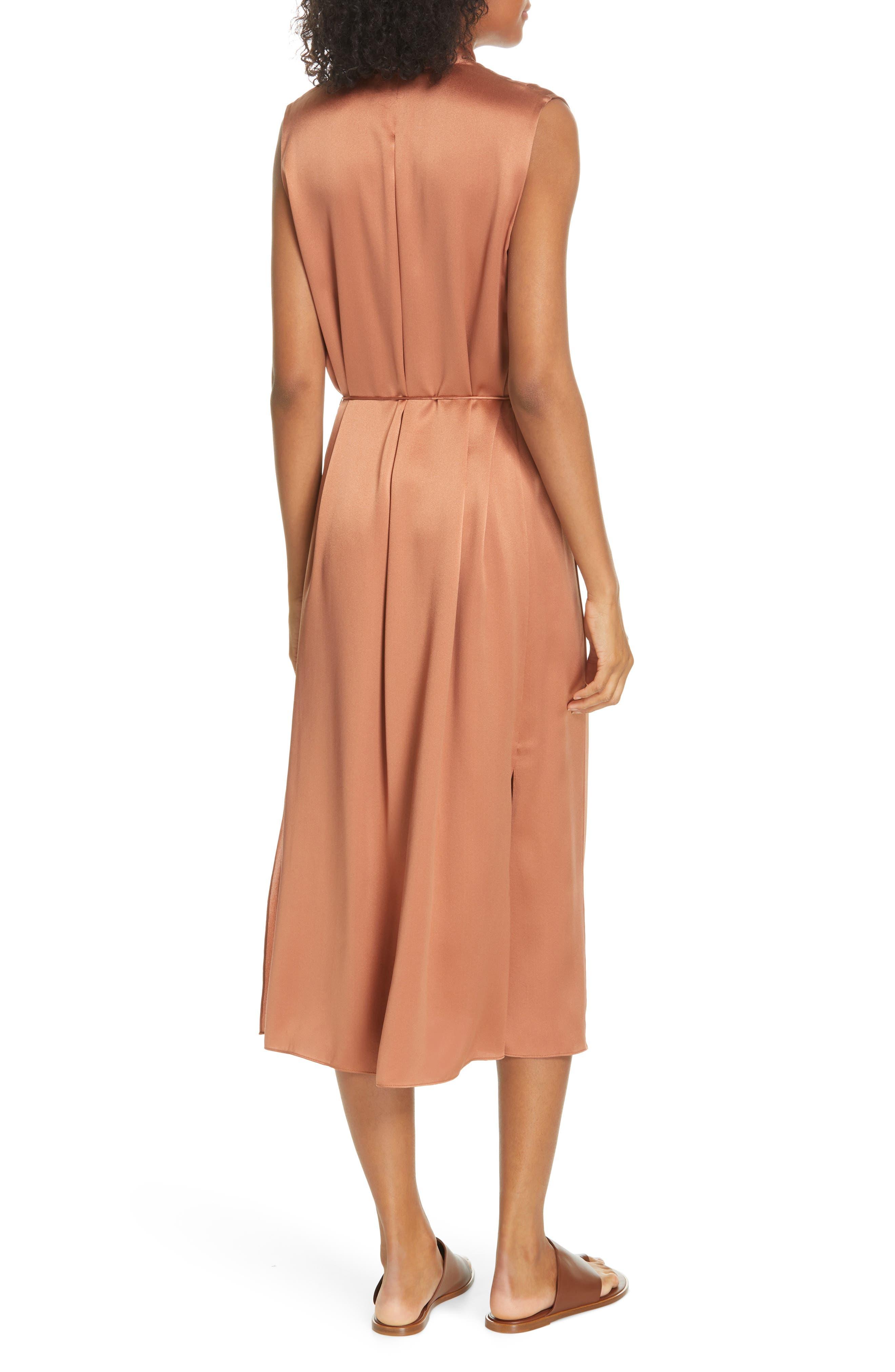 VINCE, Midi Silk Dress, Alternate thumbnail 2, color, CLIFF EMBER