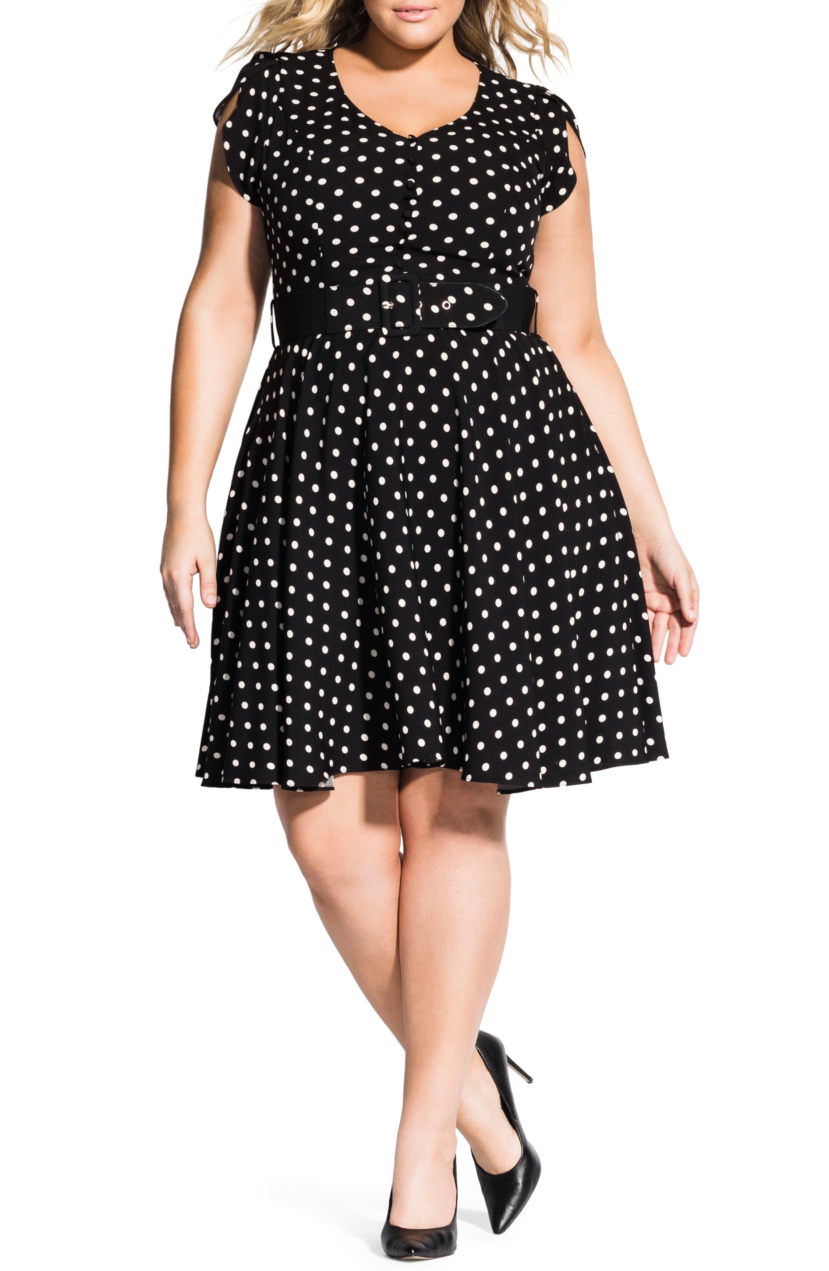 Plus Size City Chic Eliza Fit & Flare Dress, Black