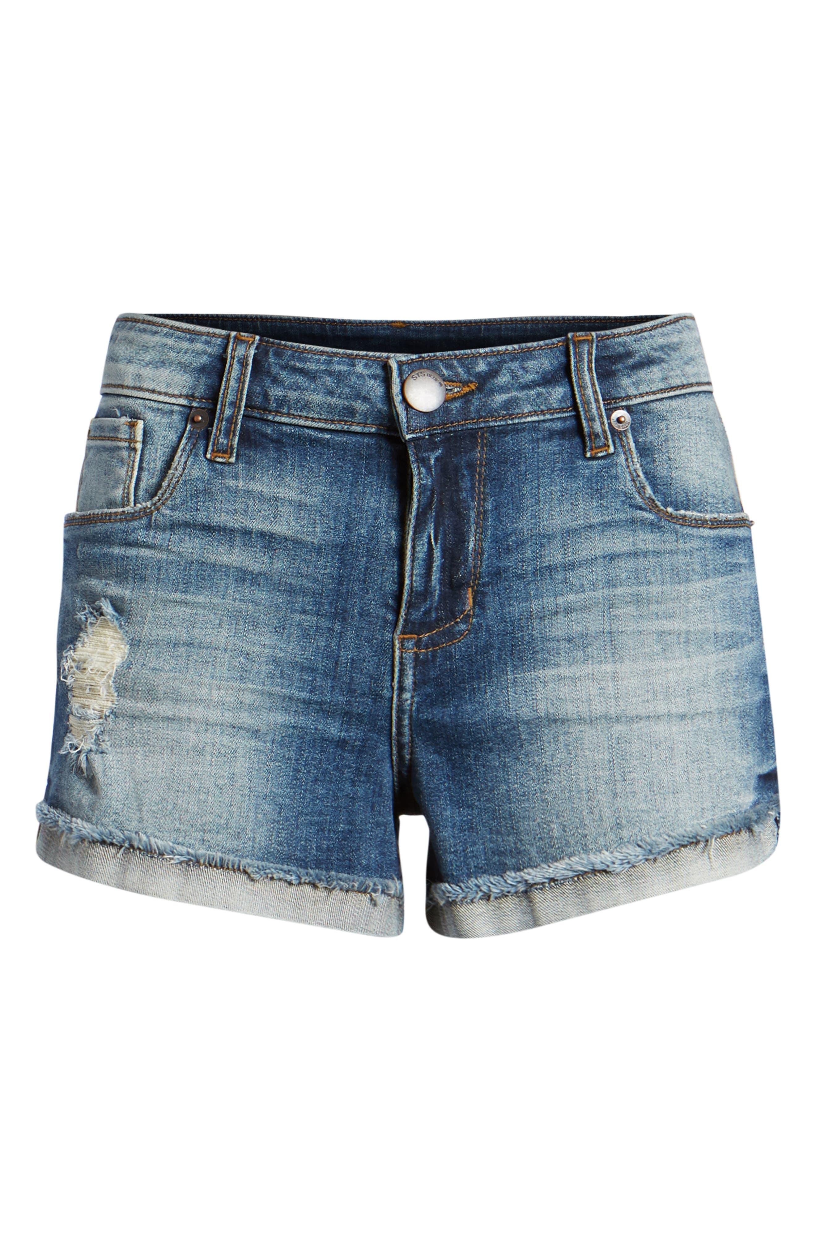 STS BLUE, Boyfriend Denim Shorts, Alternate thumbnail 7, color, 400