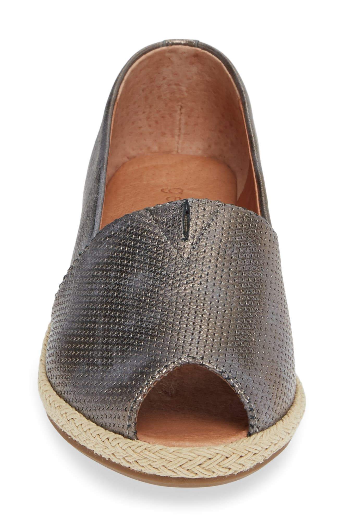 GENTLE SOULS BY KENNETH COLE, Luca Open Toe Wedge Espadrille, Alternate thumbnail 4, color, PEWTER METALLIC LEATHER