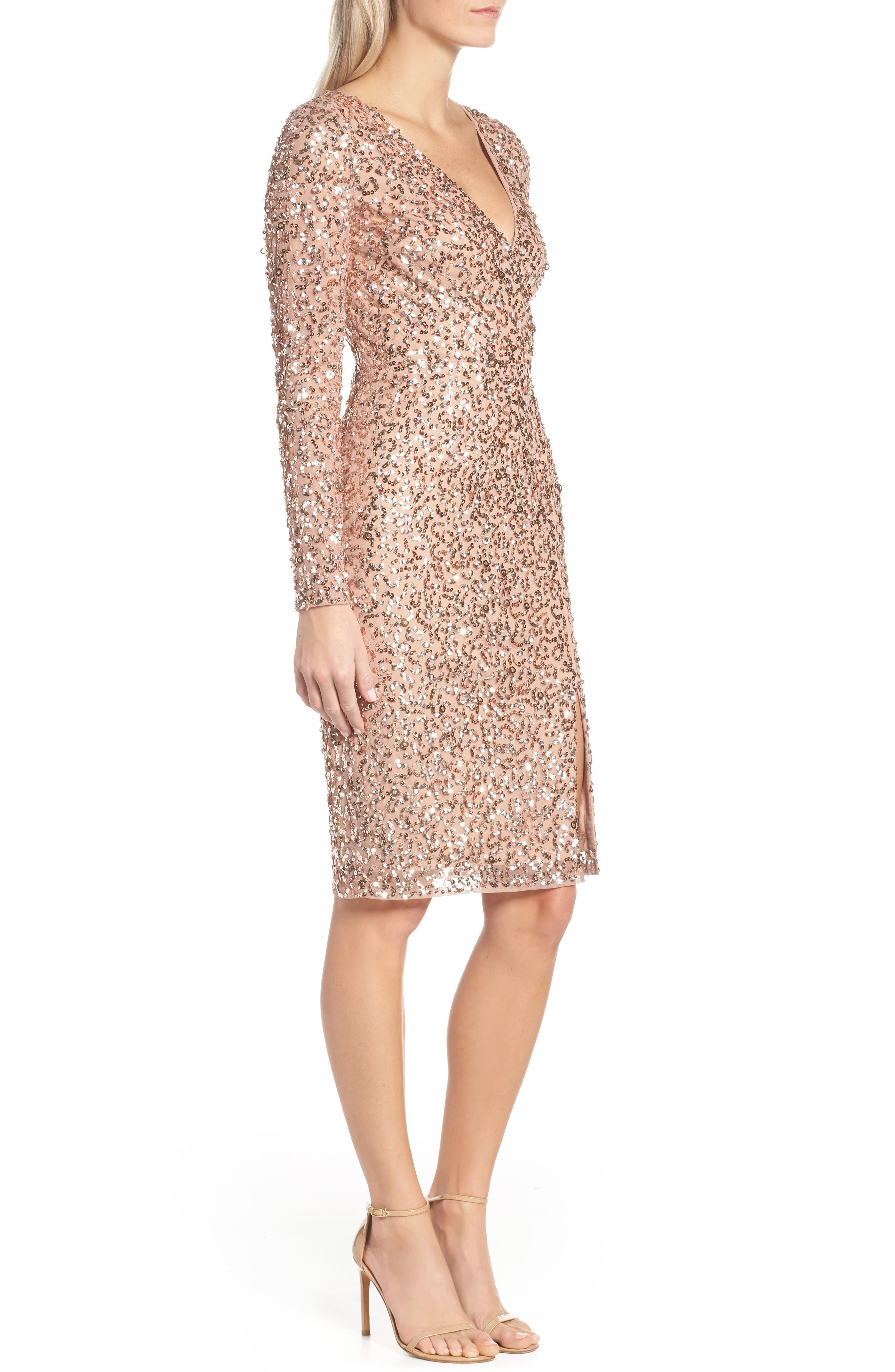 ADRIANNA PAPELL, Beaded Mesh Cocktail Dress, Alternate thumbnail 4, color, 680
