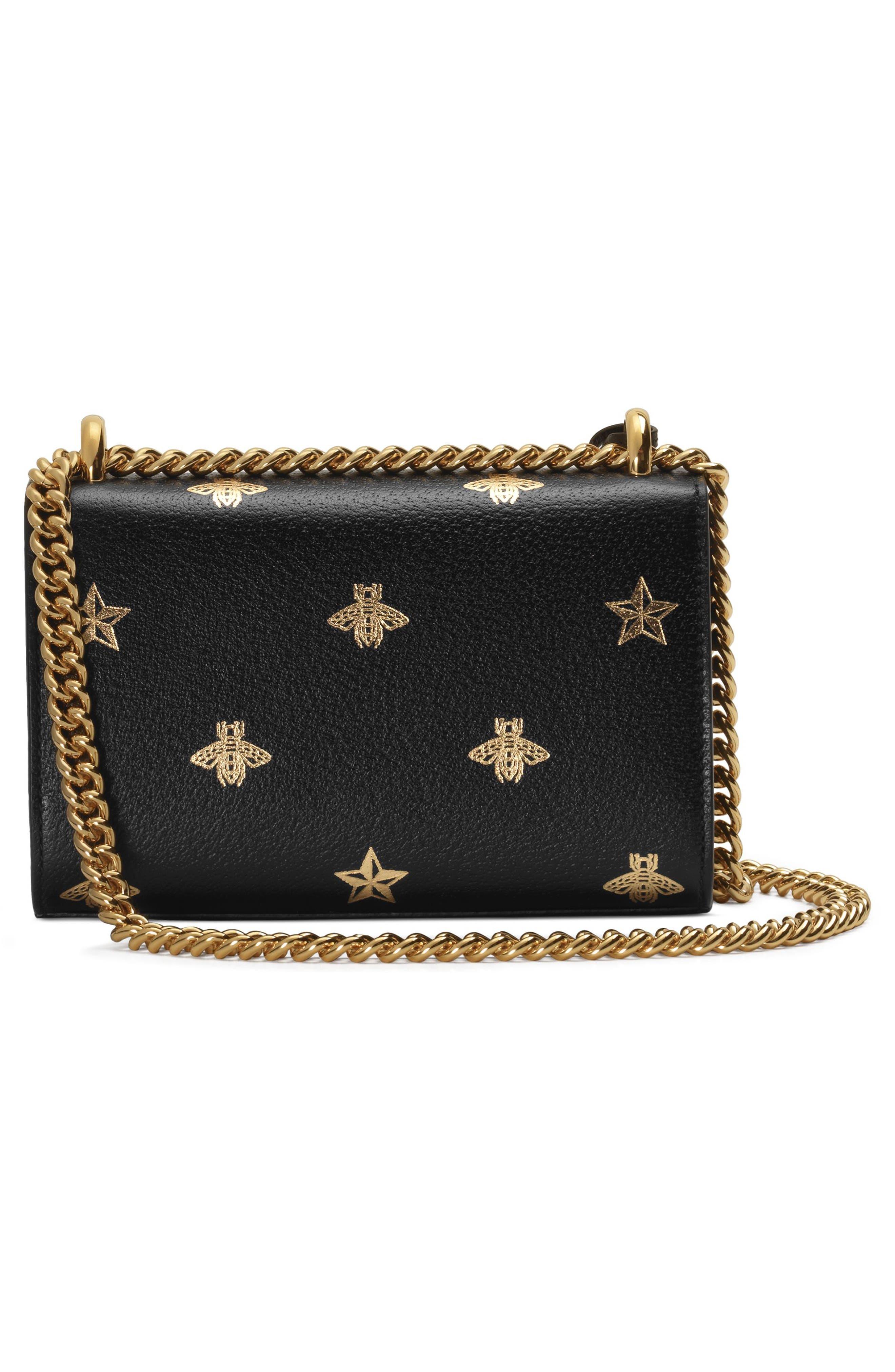GUCCI, Mini Padlock Leather Shoulder Bag, Alternate thumbnail 2, color, NERO/ ORO