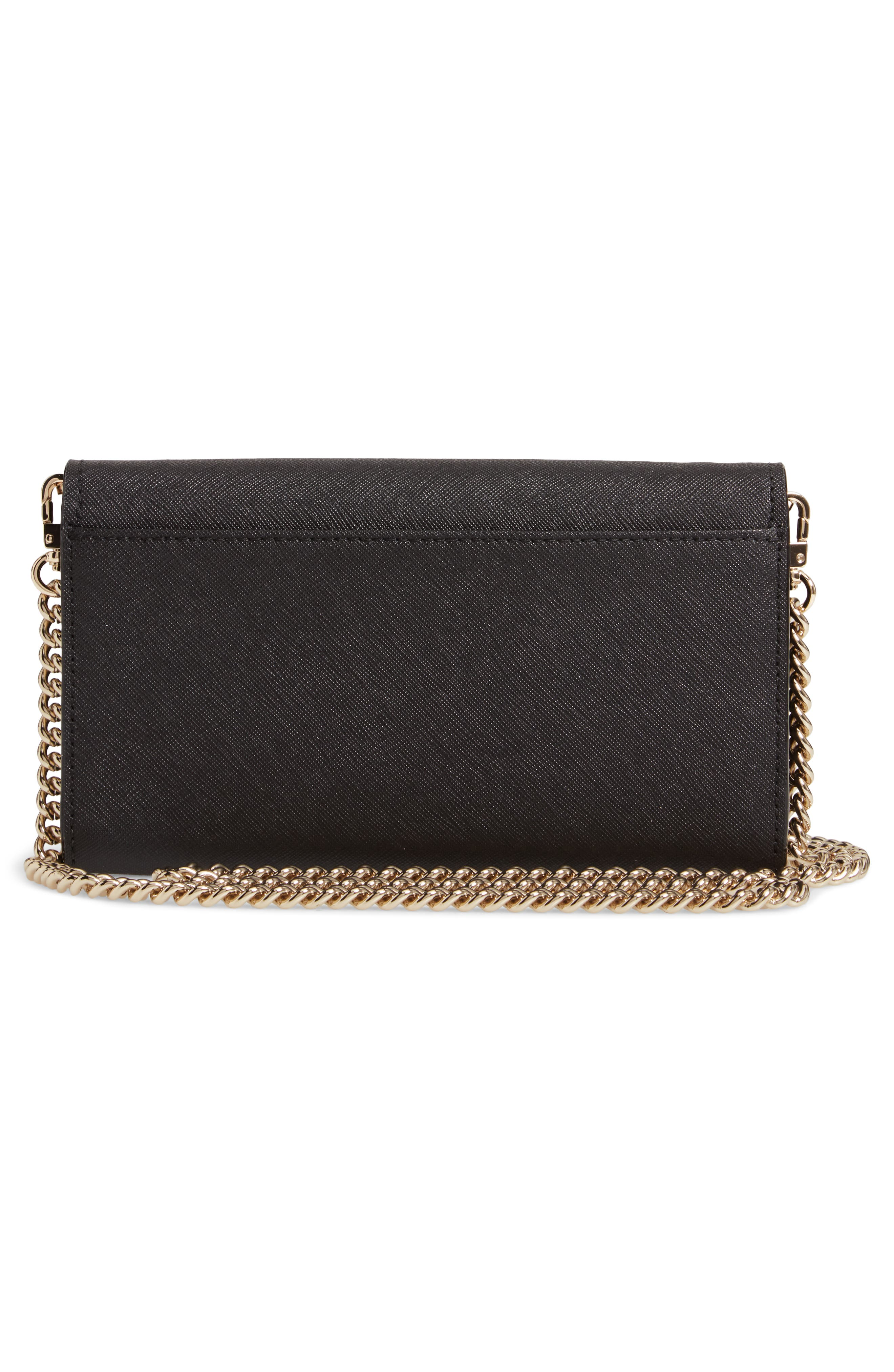 KATE SPADE NEW YORK, cameron street - franny leather wallet on a chain, Alternate thumbnail 3, color, 001