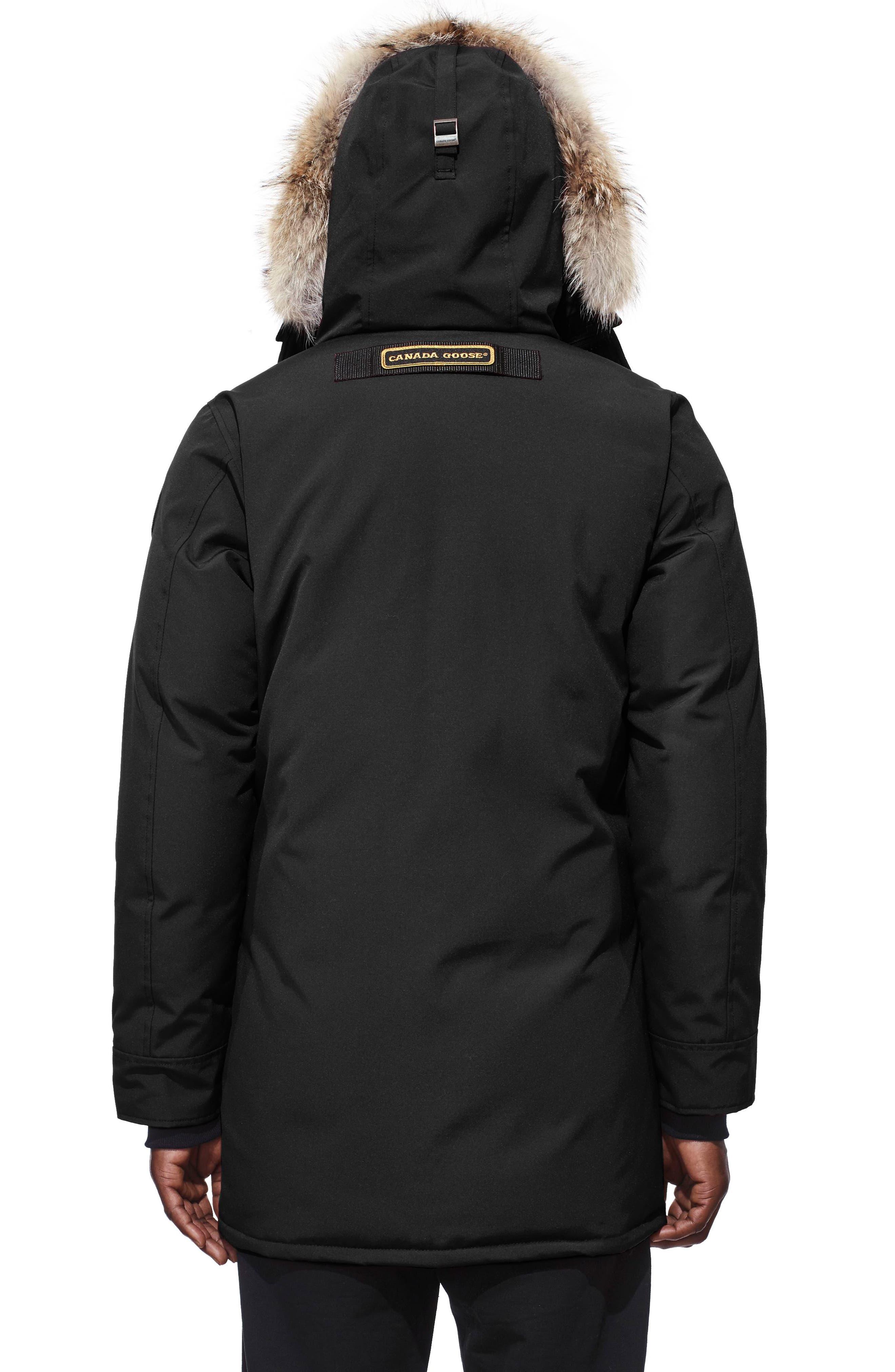 CANADA GOOSE, Langford Slim Fit Down Parka with Genuine Coyote Fur Trim, Alternate thumbnail 2, color, BLACK