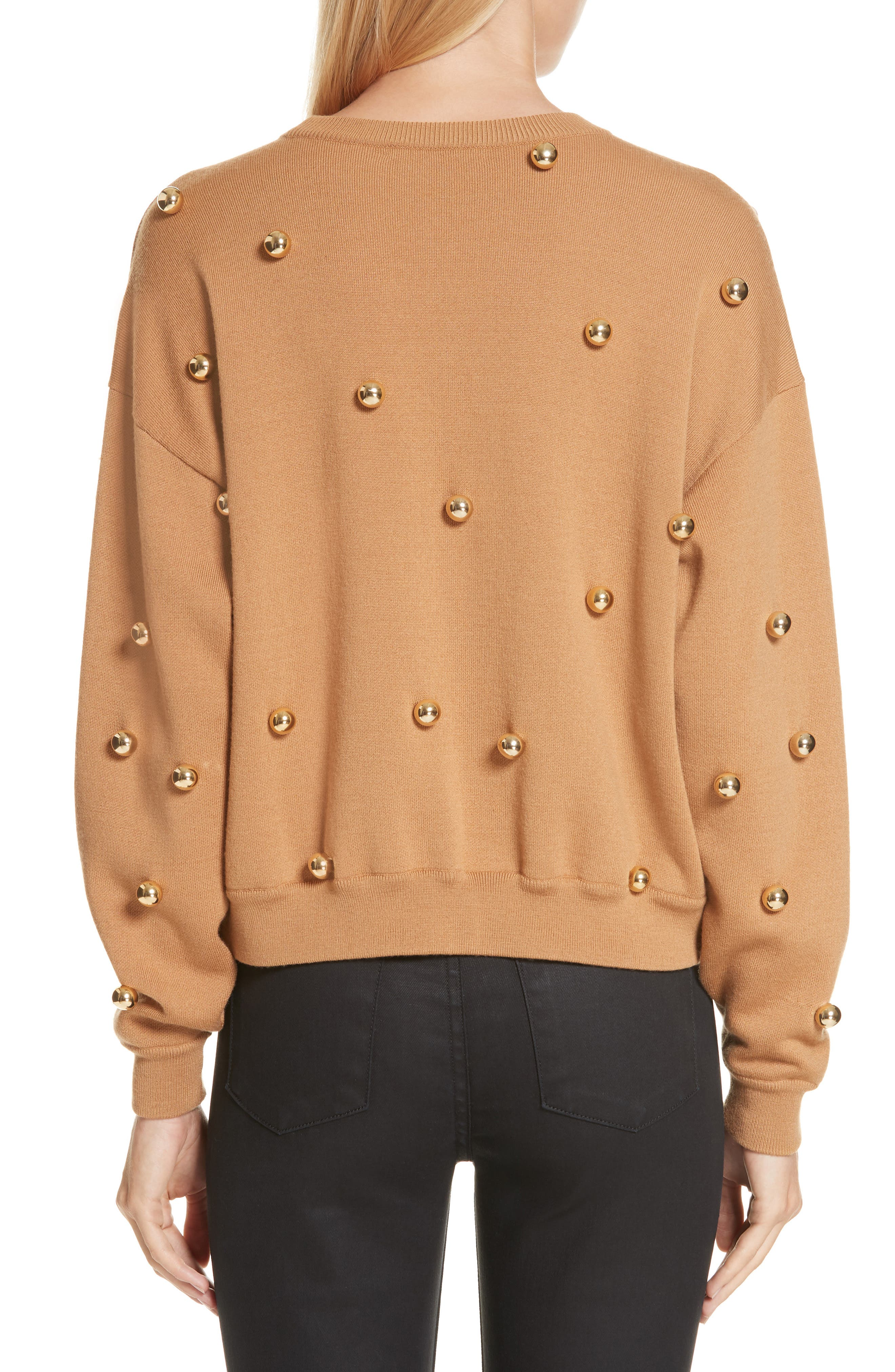 ALICE + OLIVIA, Gleeson Metal Ball Detail Wool Blend Sweater, Alternate thumbnail 2, color, 200