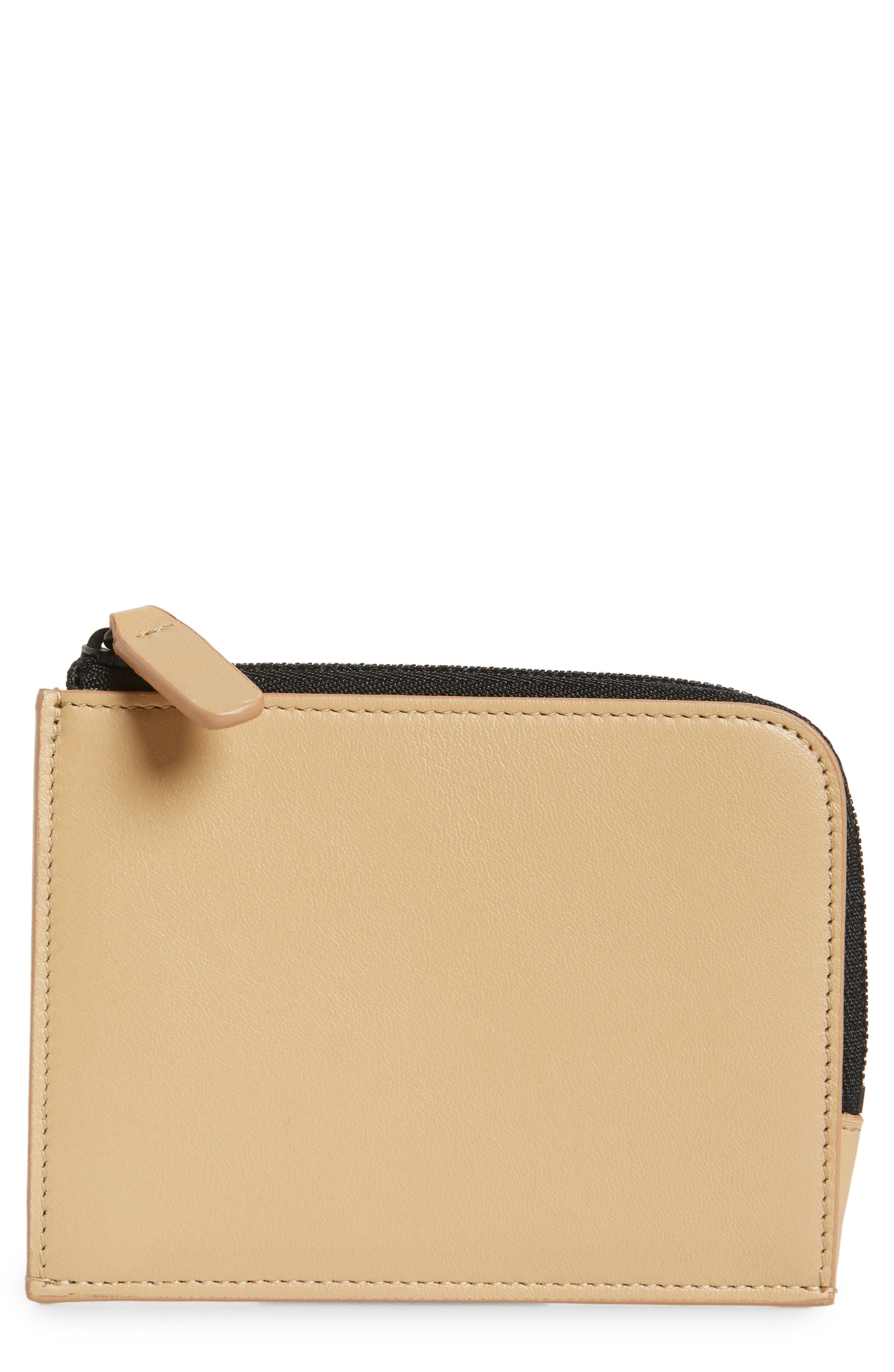 COMMON PROJECTS, Nappa Leather Zip Wallet, Main thumbnail 1, color, TAN