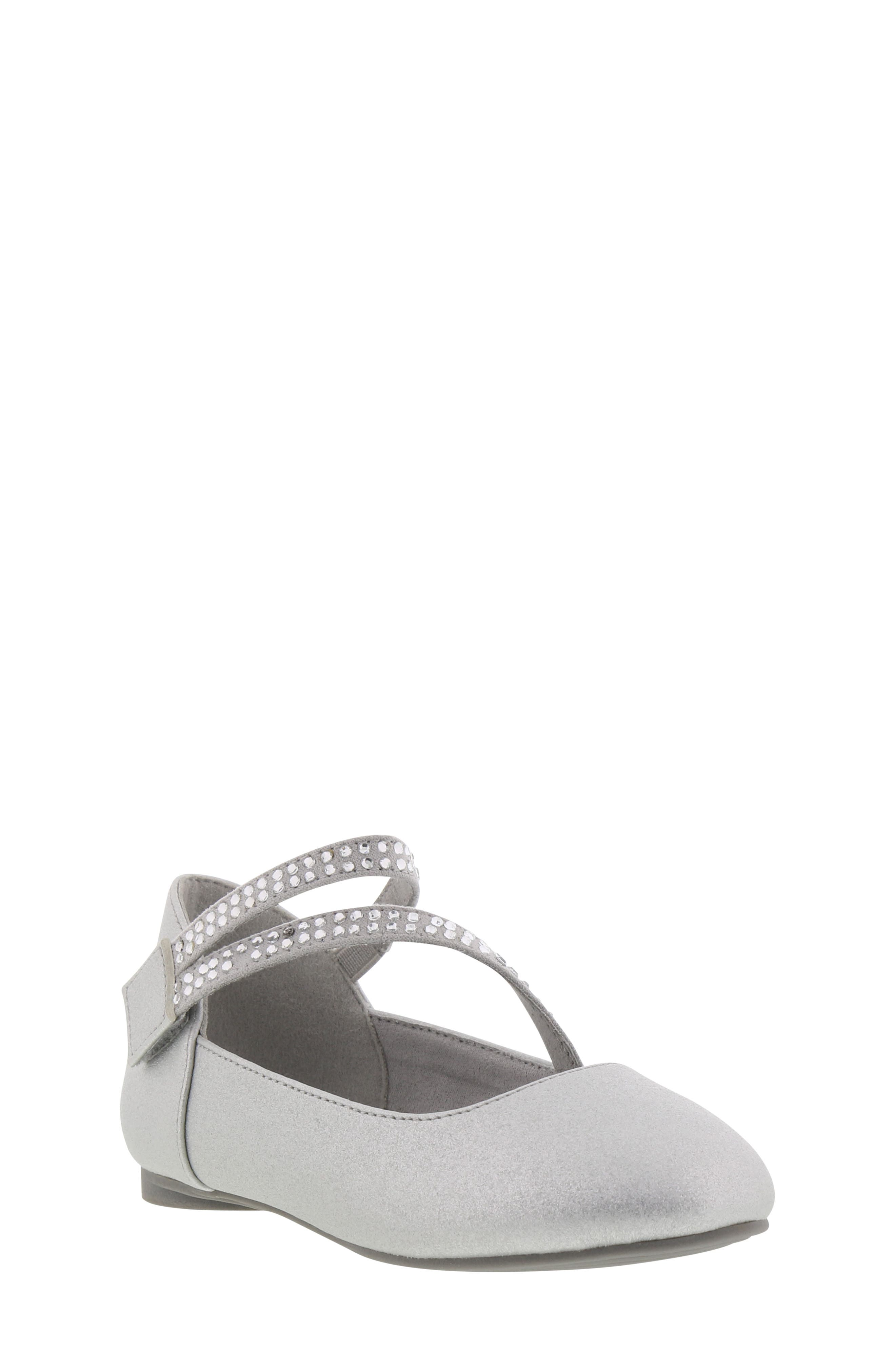 REACTION KENNETH COLE, Tap Lily-T Embellished Flat, Main thumbnail 1, color, SILVER