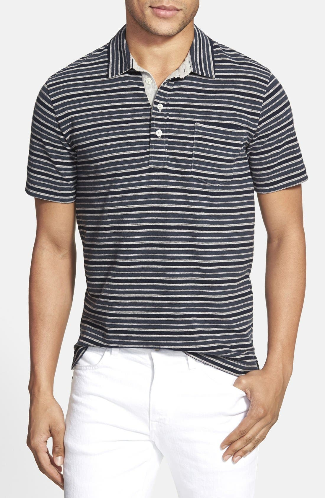 BILLY REID 'Pensacola' Stripe Piqué Polo, Main, color, 410