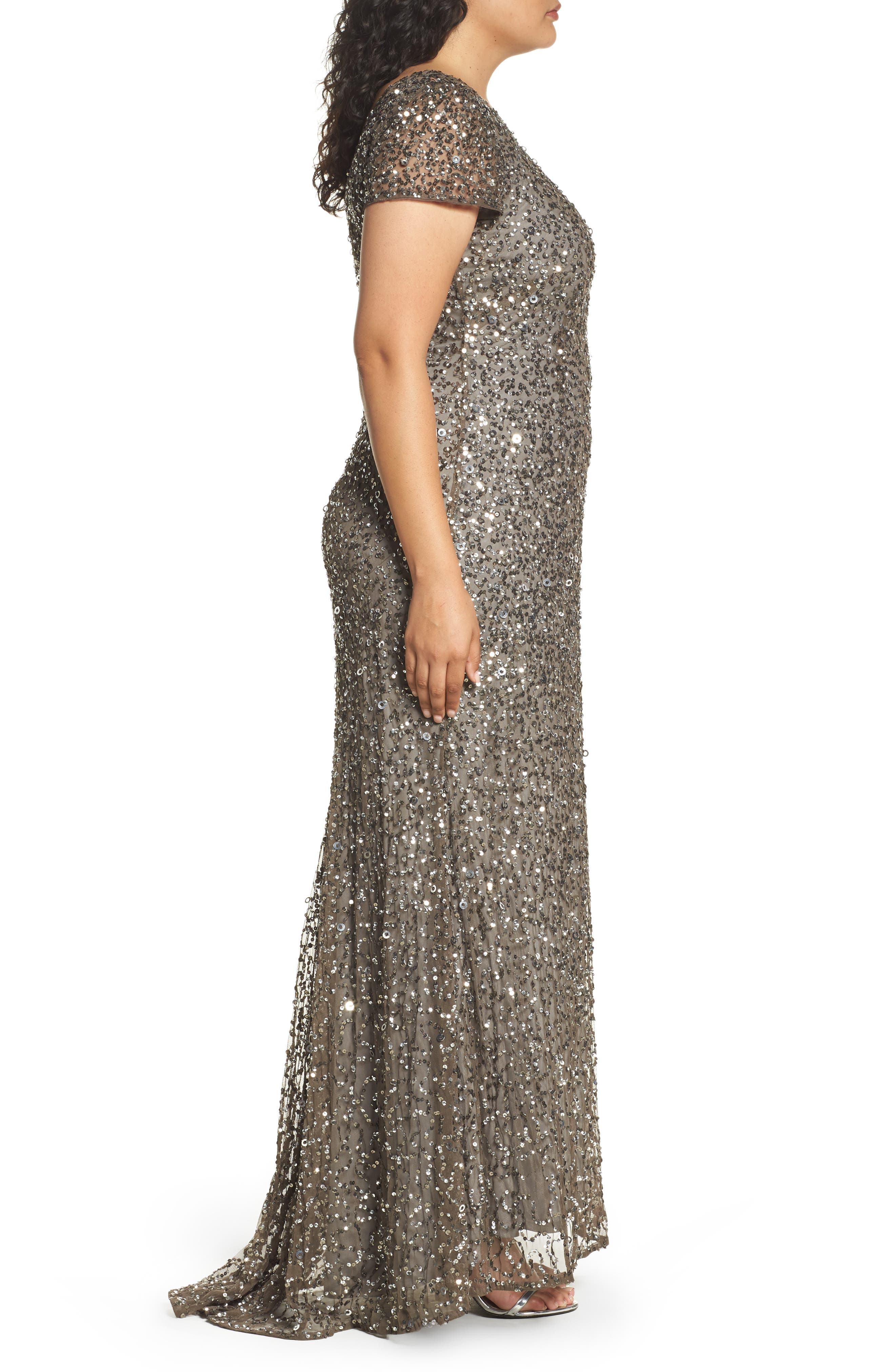 ADRIANNA PAPELL, Embellished Scoop Back Gown, Alternate thumbnail 4, color, 050