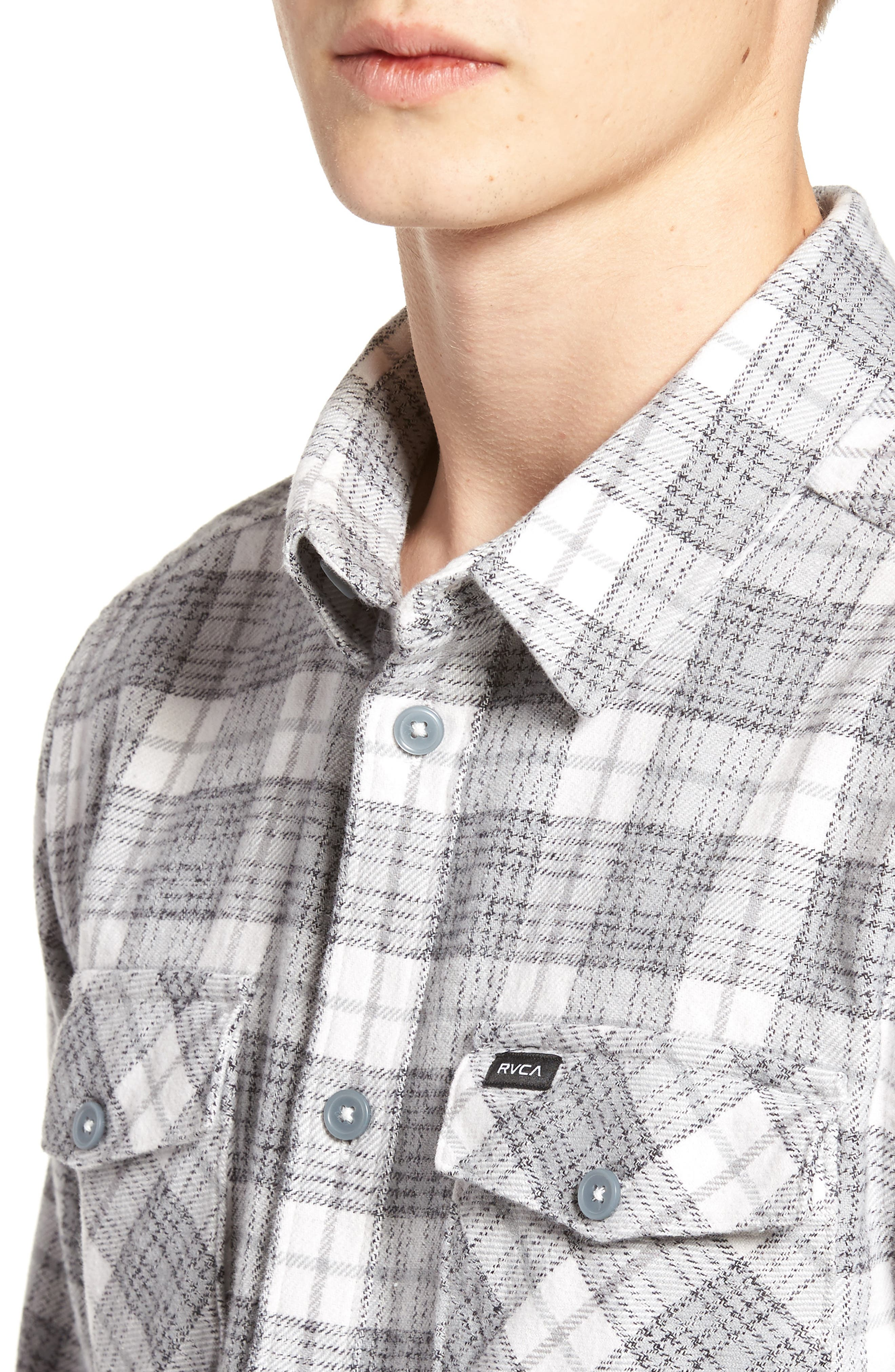 RVCA, 'That'll Work' Trim Fit Plaid Flannel Shirt, Alternate thumbnail 4, color, ANTIQUE WHITE