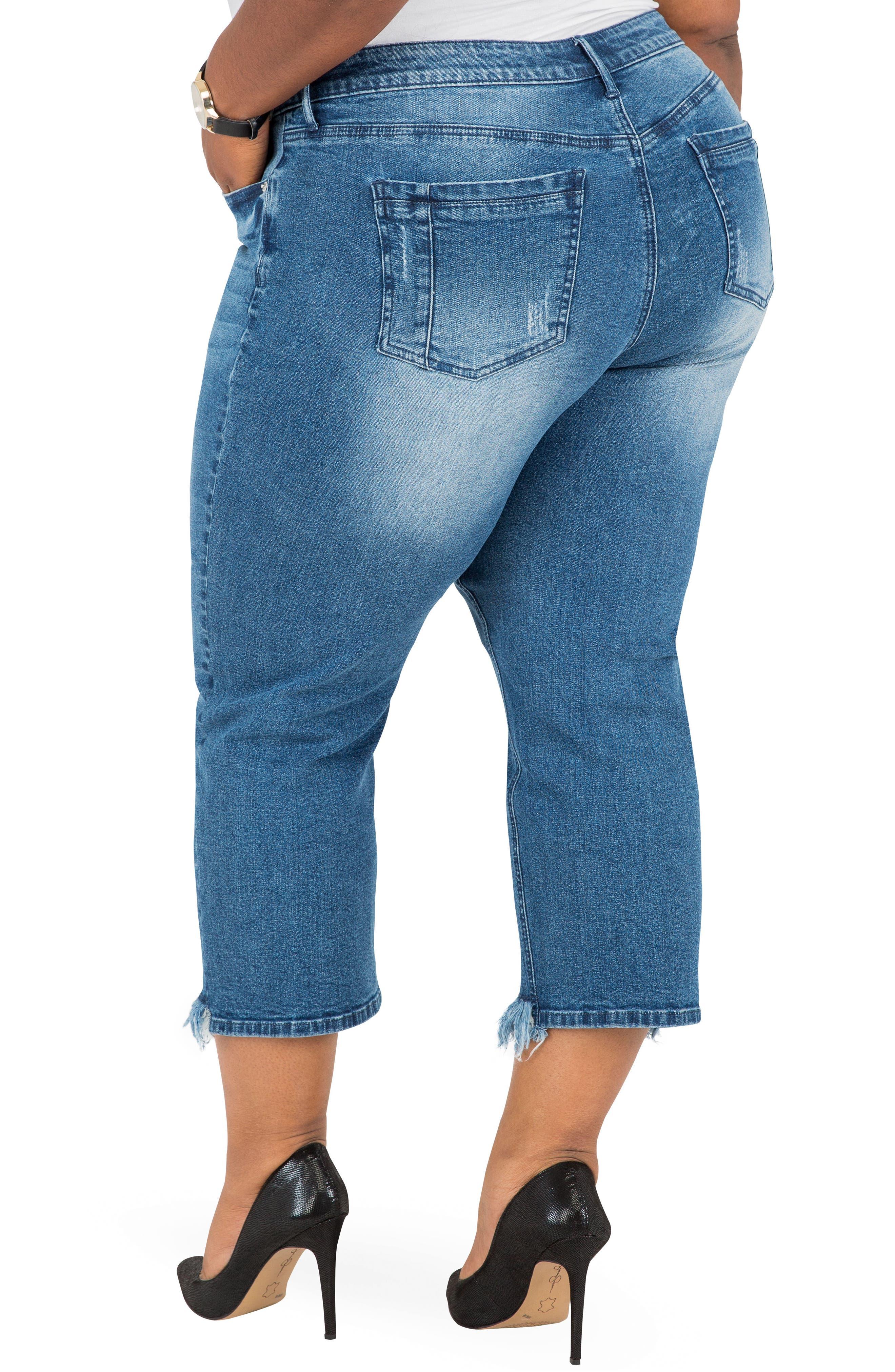 POETIC JUSTICE, Verla Frayed Hem Crop Boyfriend Jeans, Alternate thumbnail 2, color, LIGHT BLUE