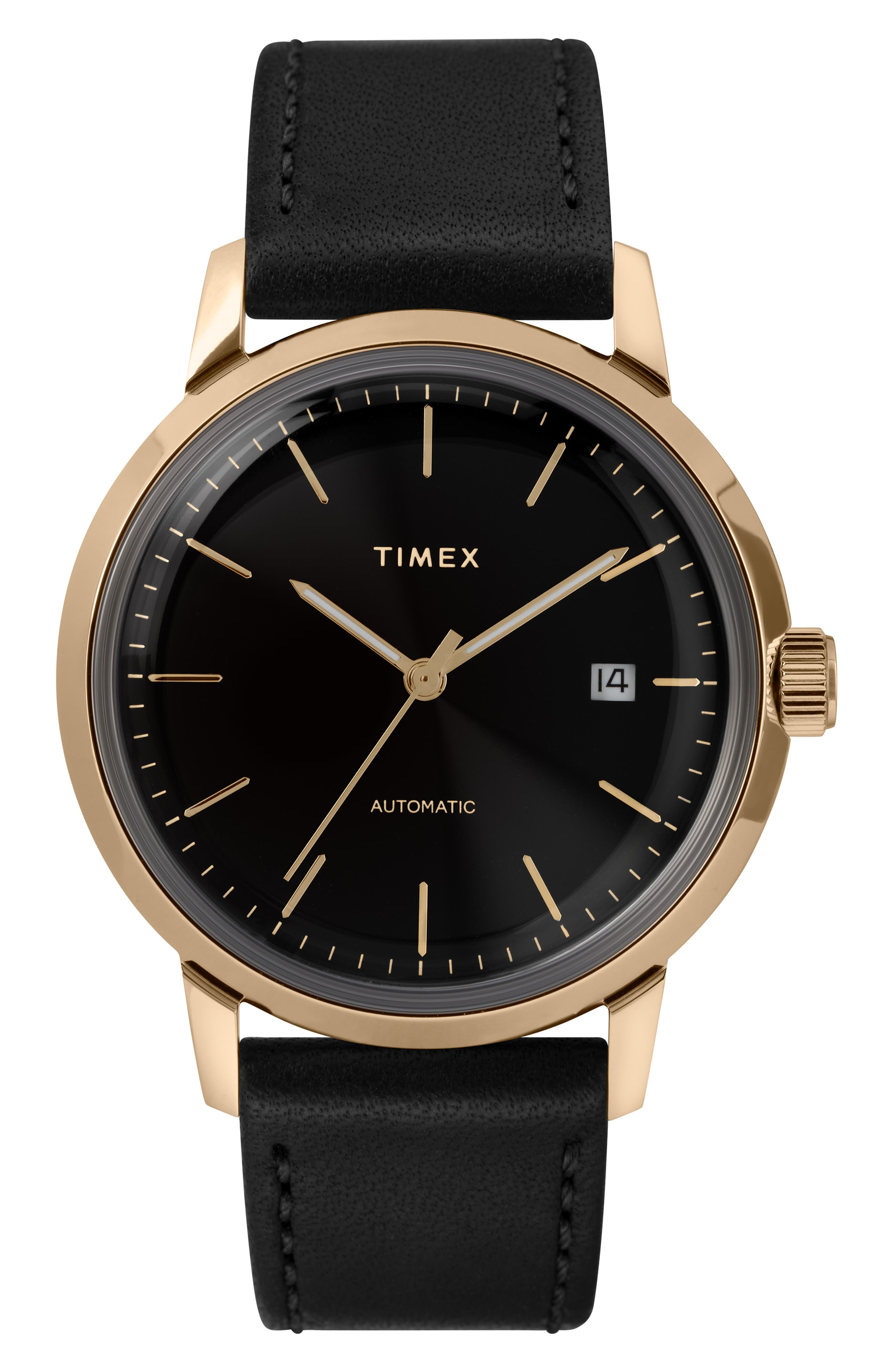 TIMEX<SUP>®</SUP>, Marlin Automatic Leather Strap Watch, 40mm, Main thumbnail 1, color, SILVER/ BLACK/ BLACK