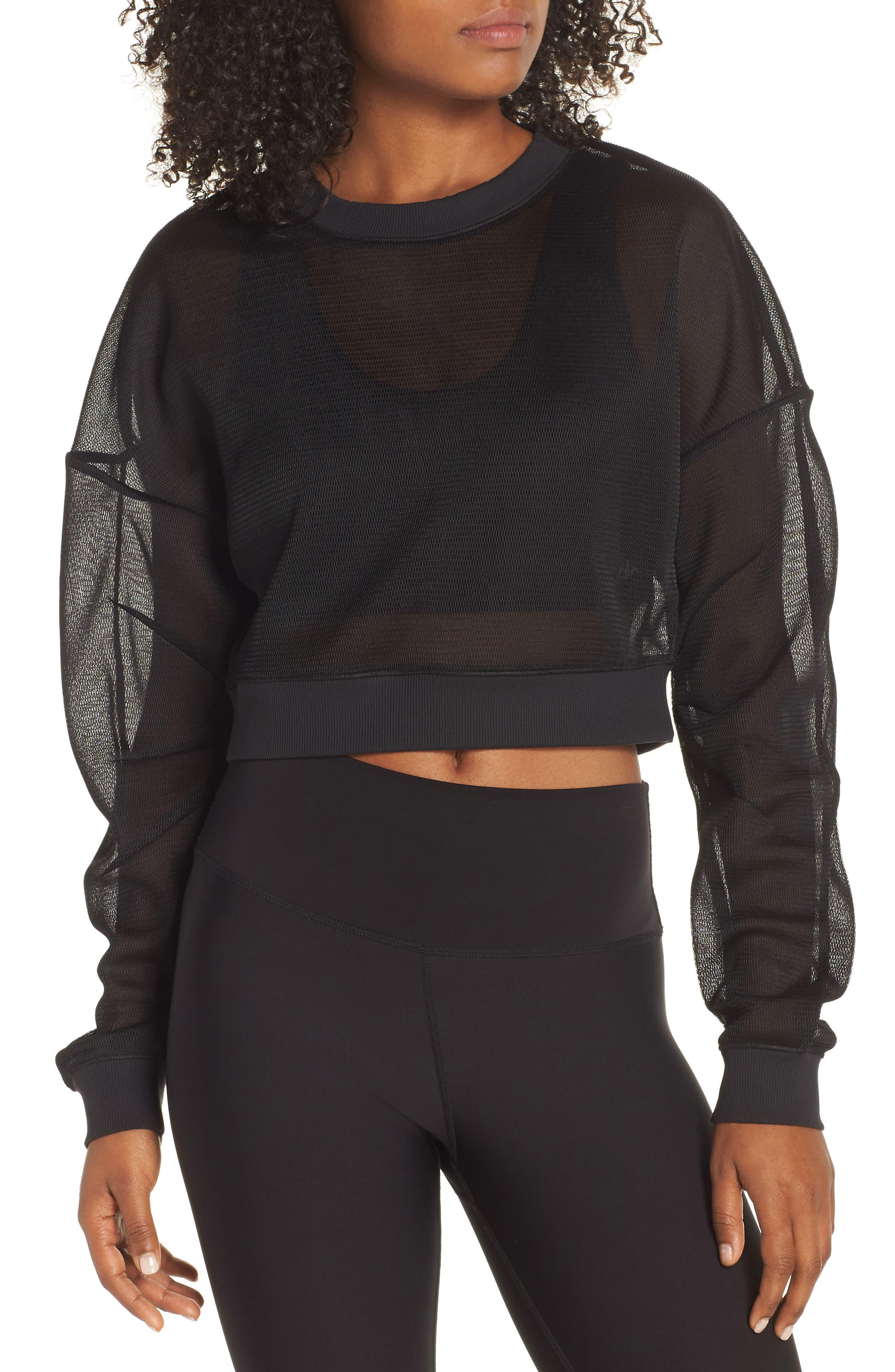 ALO, Row Long Sleeve Sweatshirt, Main thumbnail 1, color, BLACK