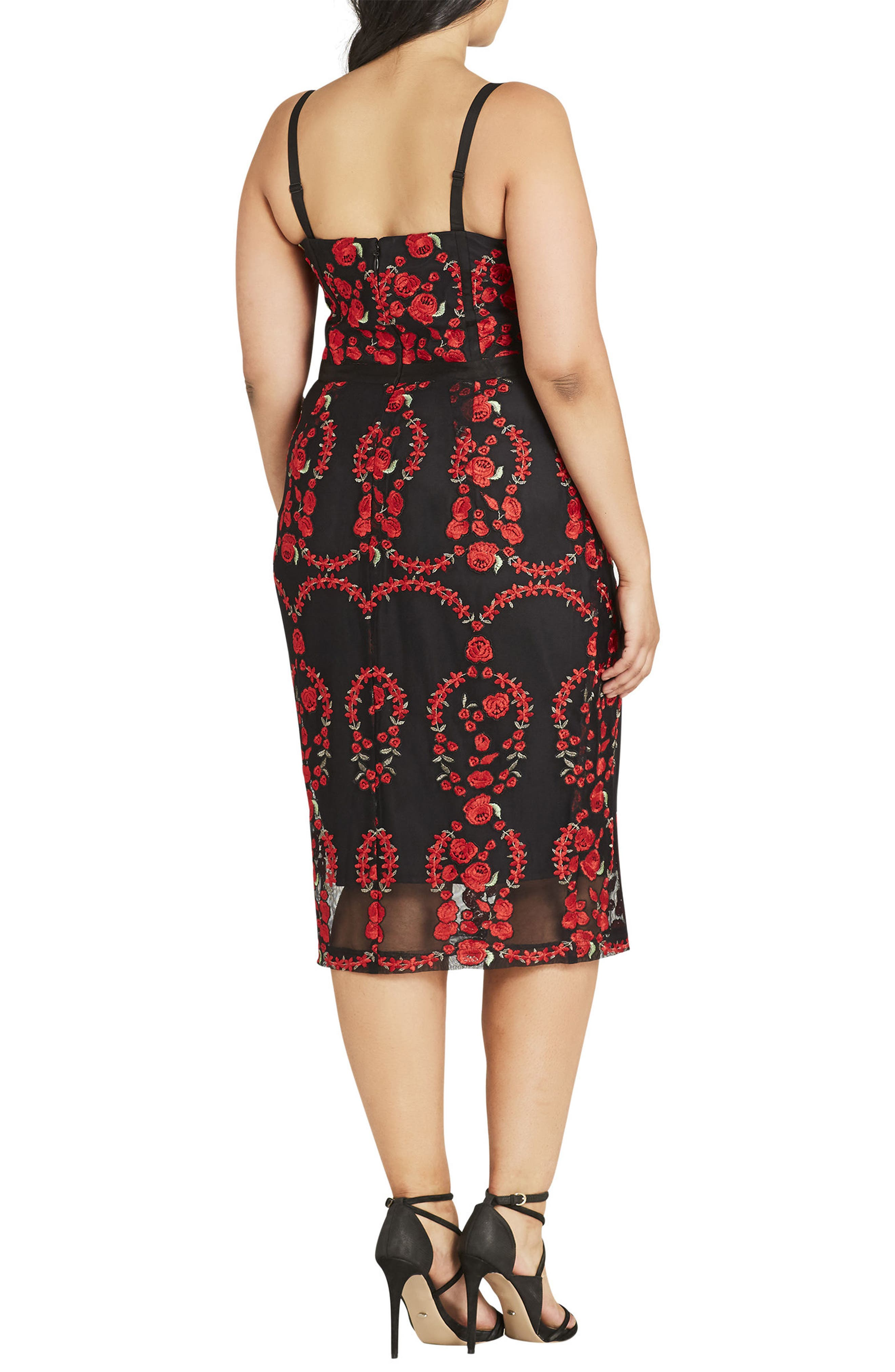 CITY CHIC, Dolce Rose Embroidered Corset Dress, Alternate thumbnail 2, color, BLACK