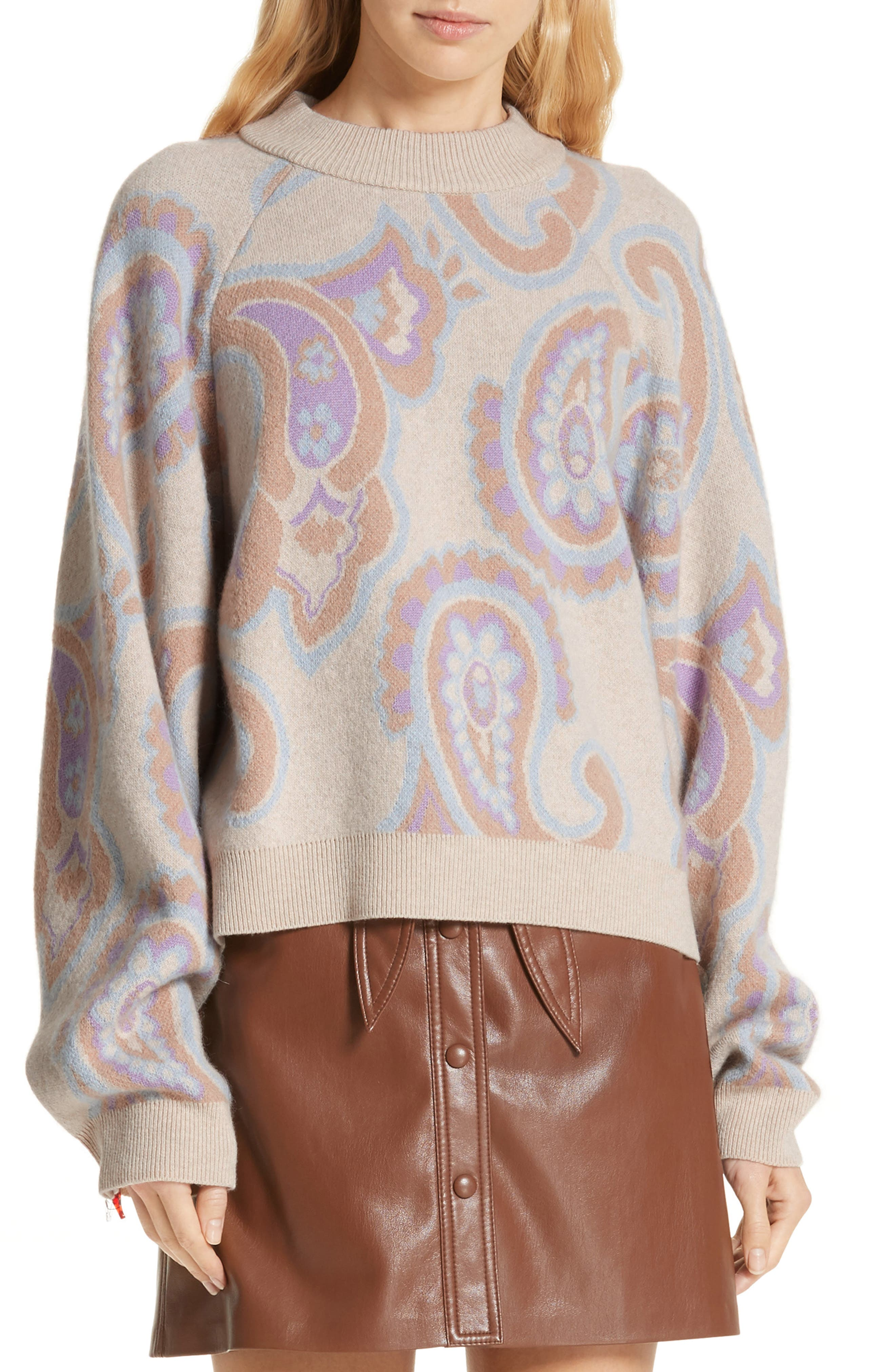 Nanushka Casey Paisley Merino Wool & Cashmere Blend Sweater, Beige
