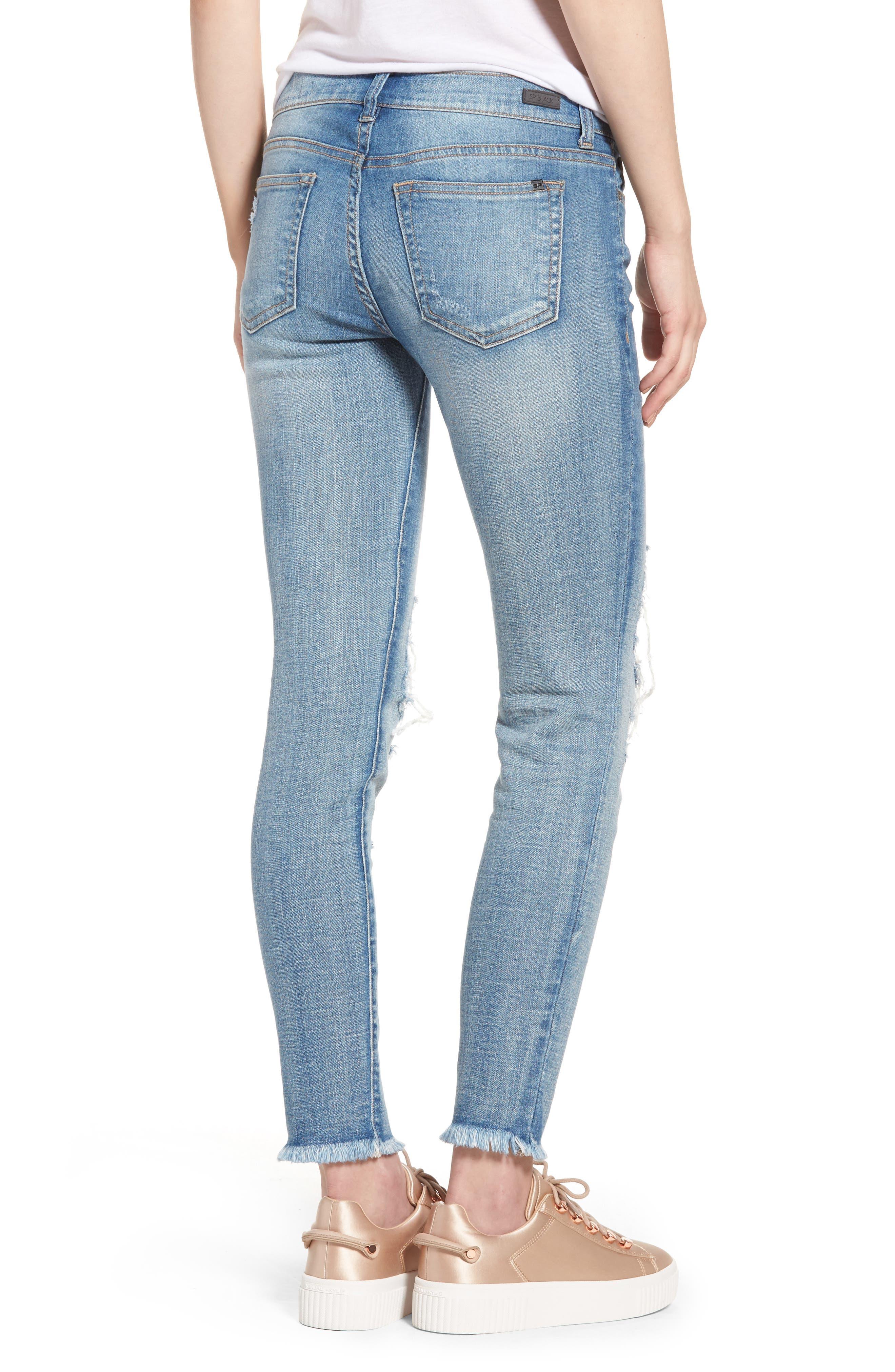 SP BLACK, Ripped Knee Skinny Jeans, Alternate thumbnail 2, color, 400