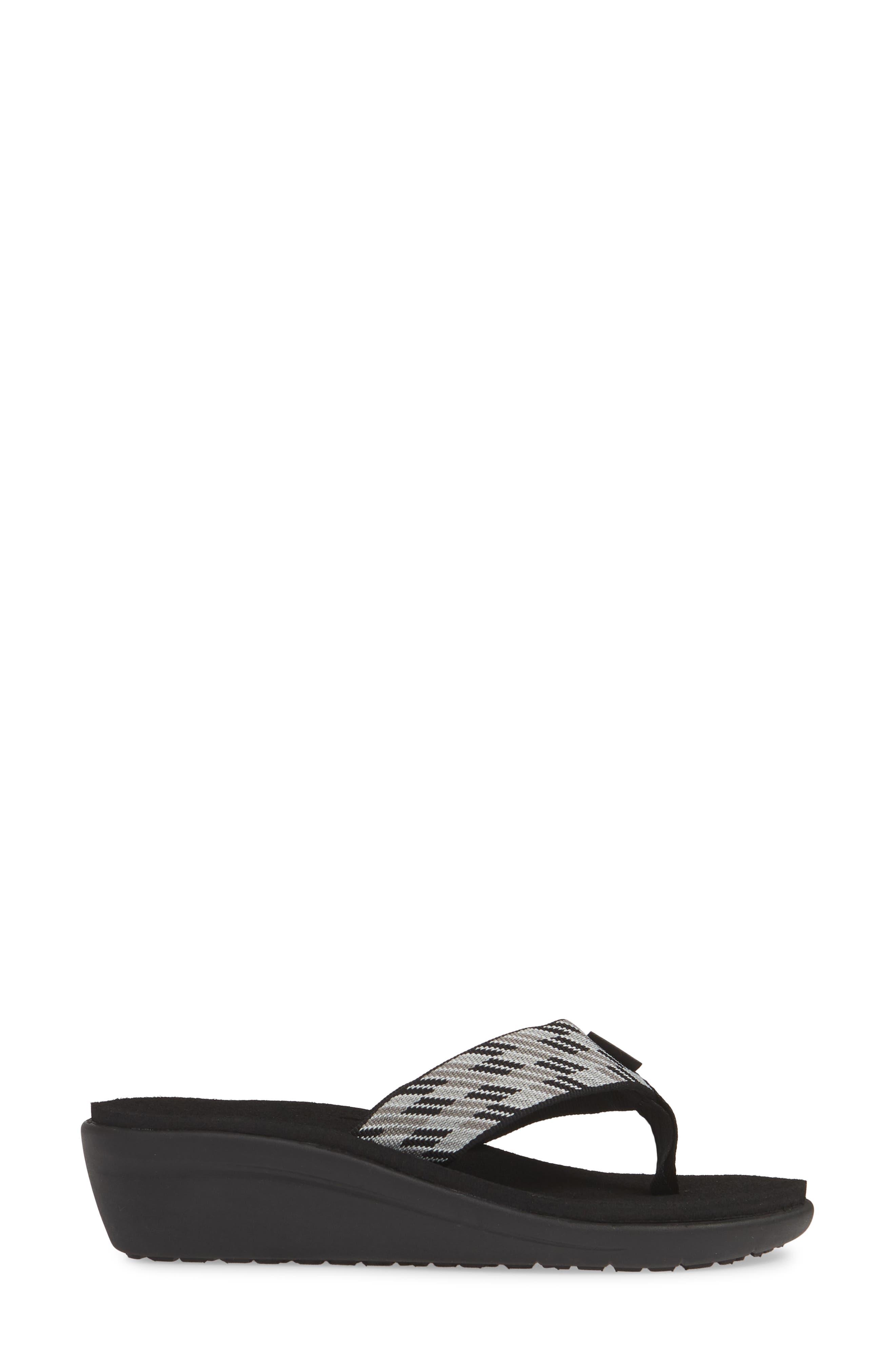 TEVA, Voya Wedge Flip Flop, Alternate thumbnail 3, color, BLACK WHITE FABRIC