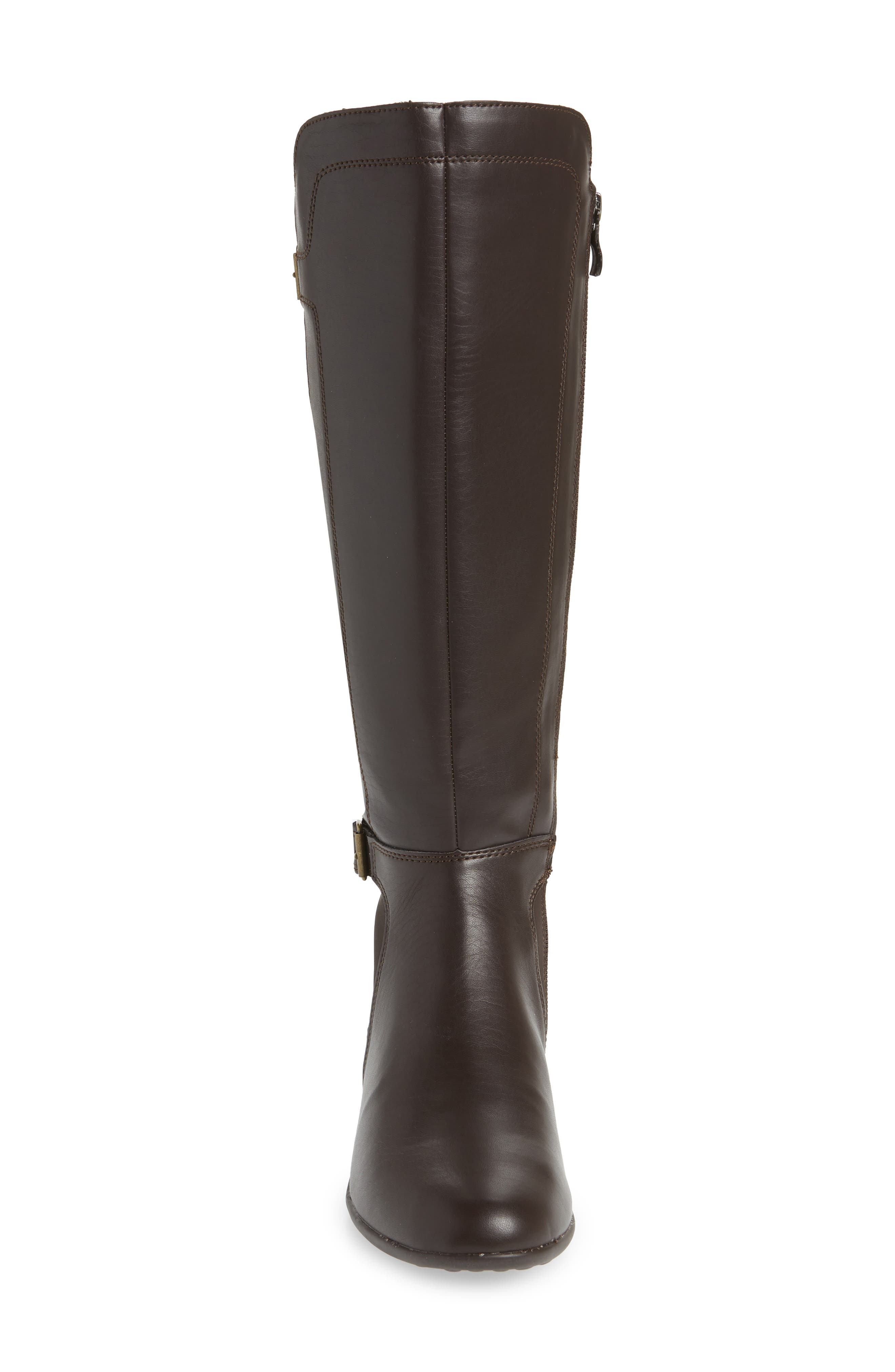 HUSH PUPPIES<SUP>®</SUP>, Bria Knee High Boot, Alternate thumbnail 4, color, DARK BROWN FAUX LEATHER
