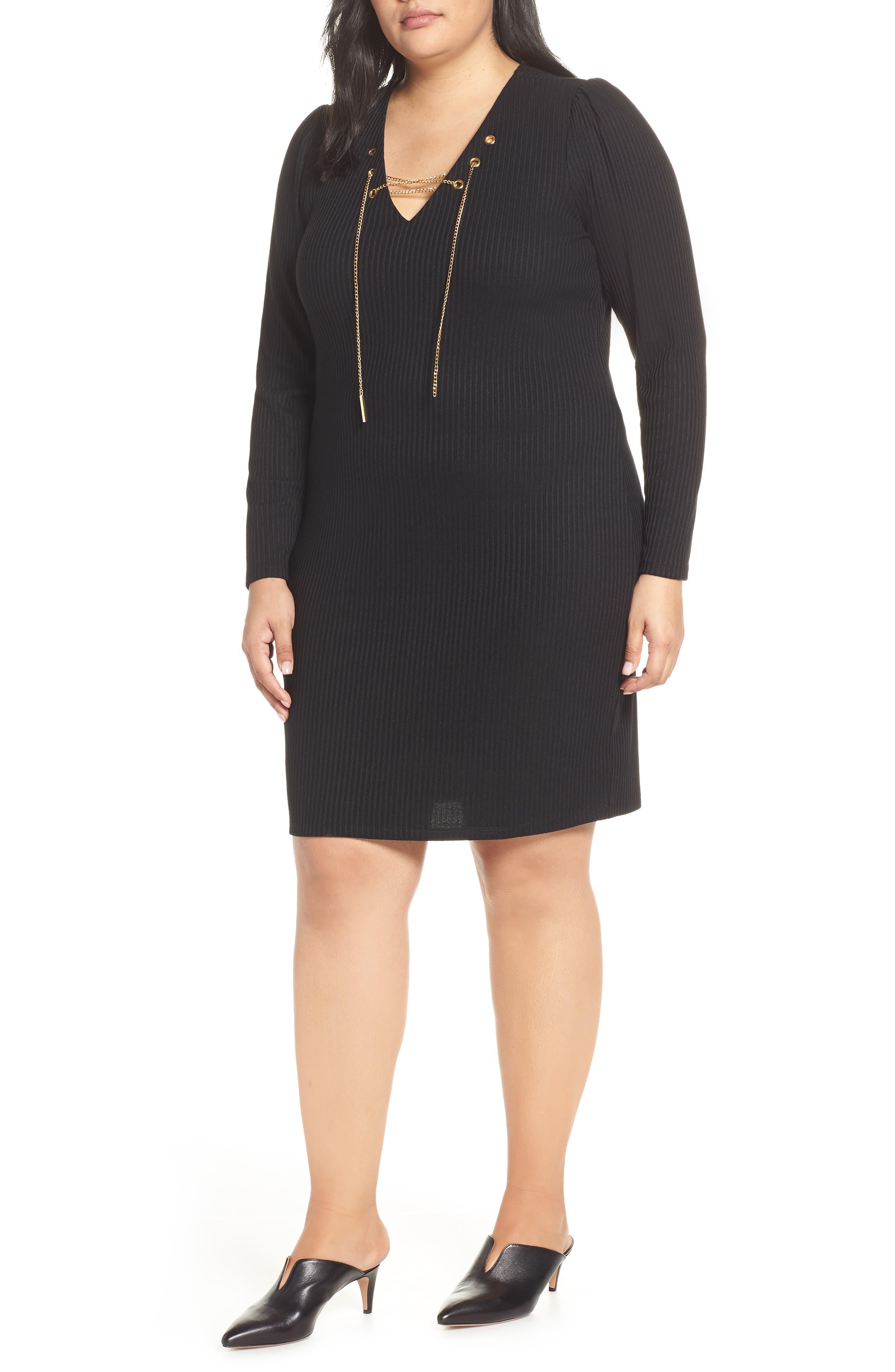 MICHAEL MICHAEL KORS, Chain Lace-Up V-Neck Sweater Dress, Main thumbnail 1, color, 001