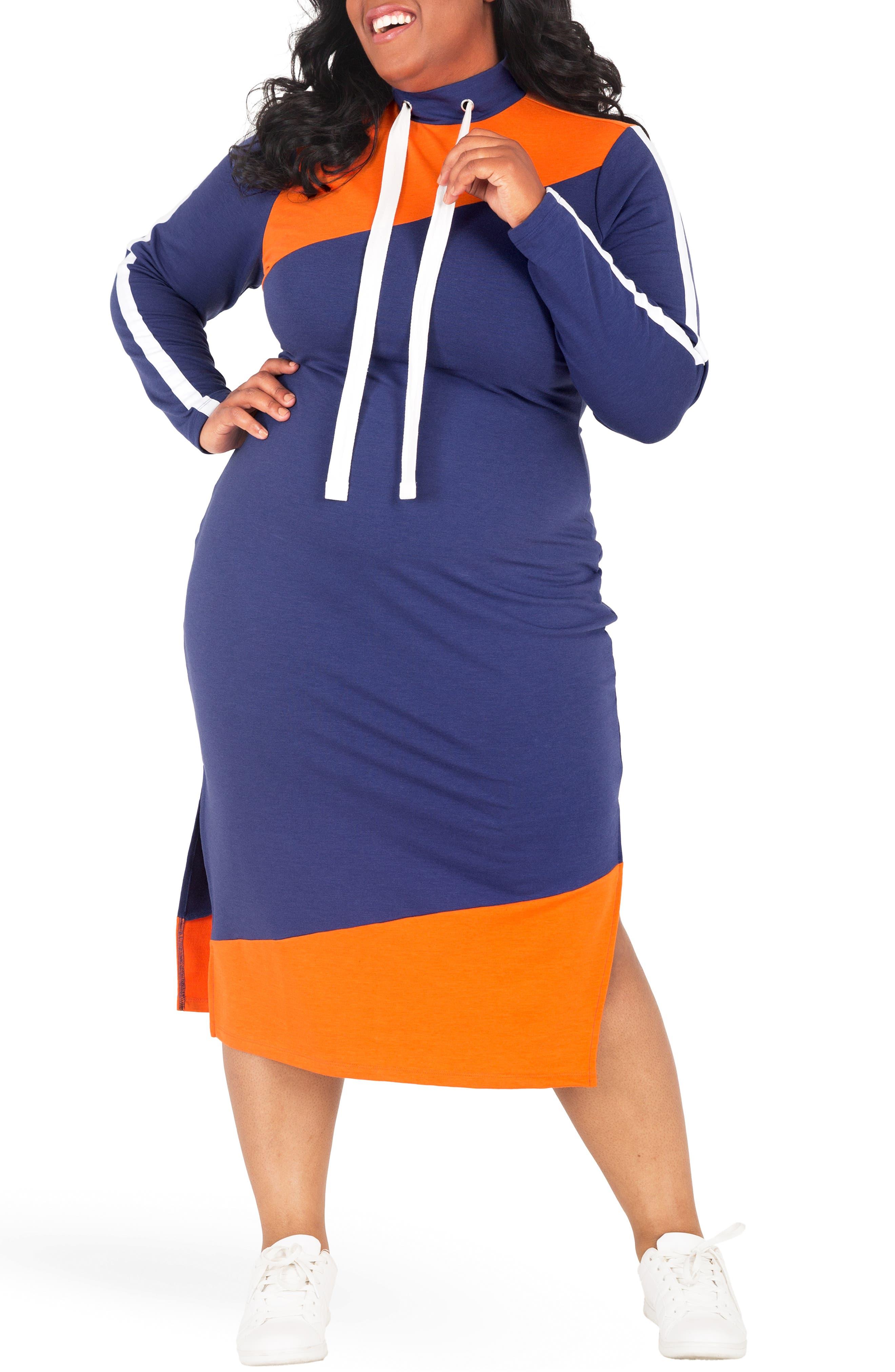POETIC JUSTICE, Wanda Colorblock Midi Dress, Alternate thumbnail 4, color, NAVY