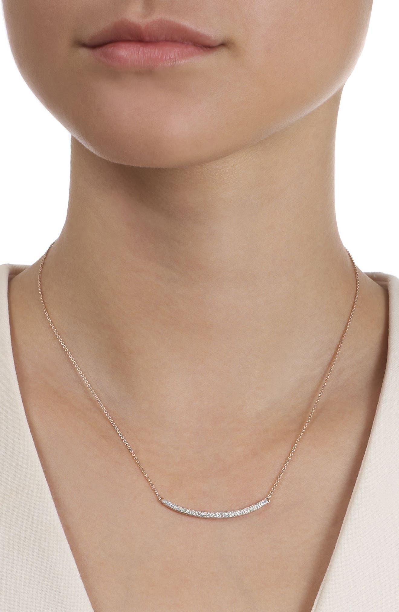 MONICA VINADER, Skinny Diamond Necklace, Alternate thumbnail 4, color, ROSE GOLD