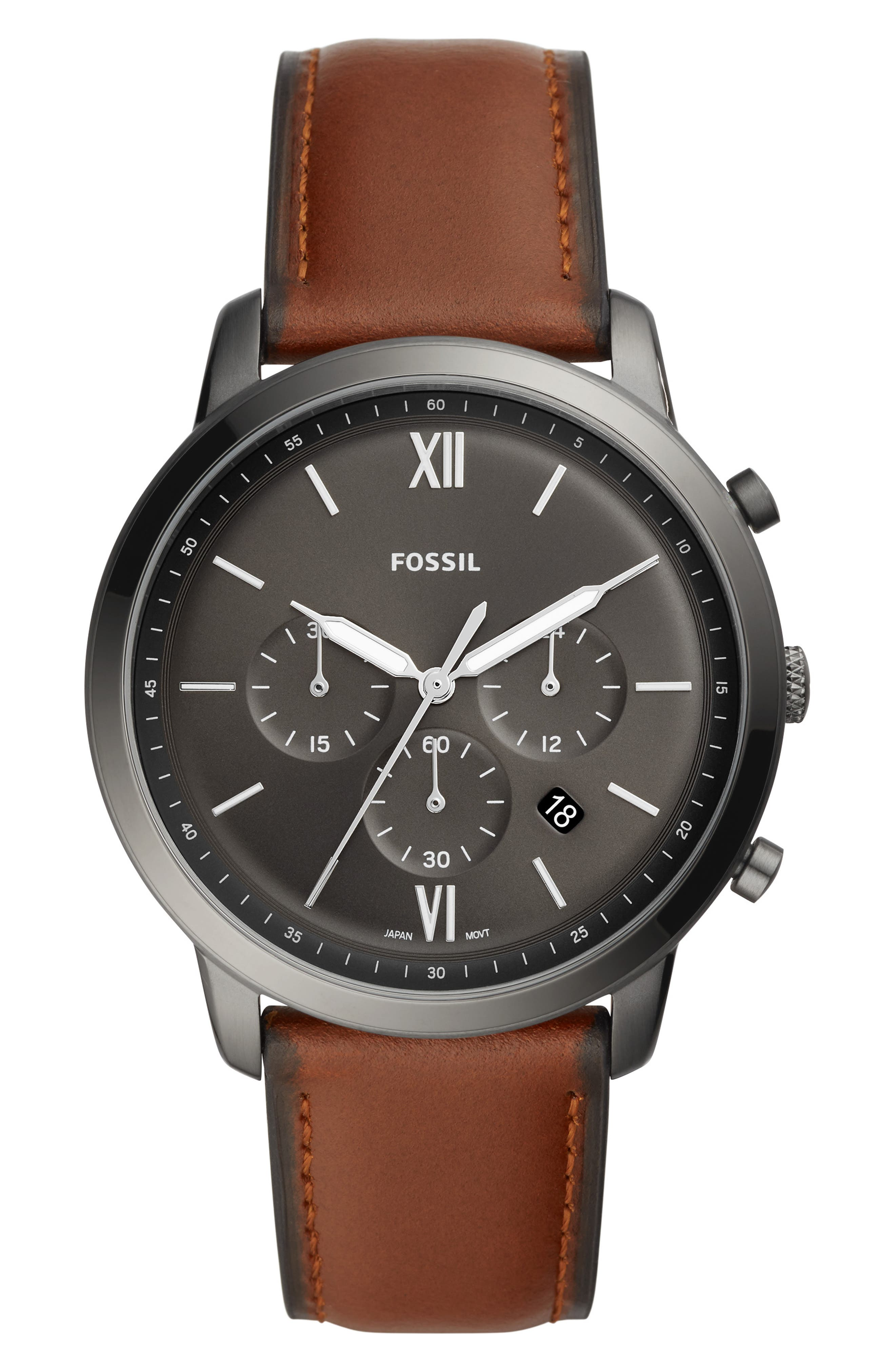 FOSSIL Neutra Chronograph Leather Strap Watch, 44mm, Main, color, BROWN/ GREY/ SMOKE