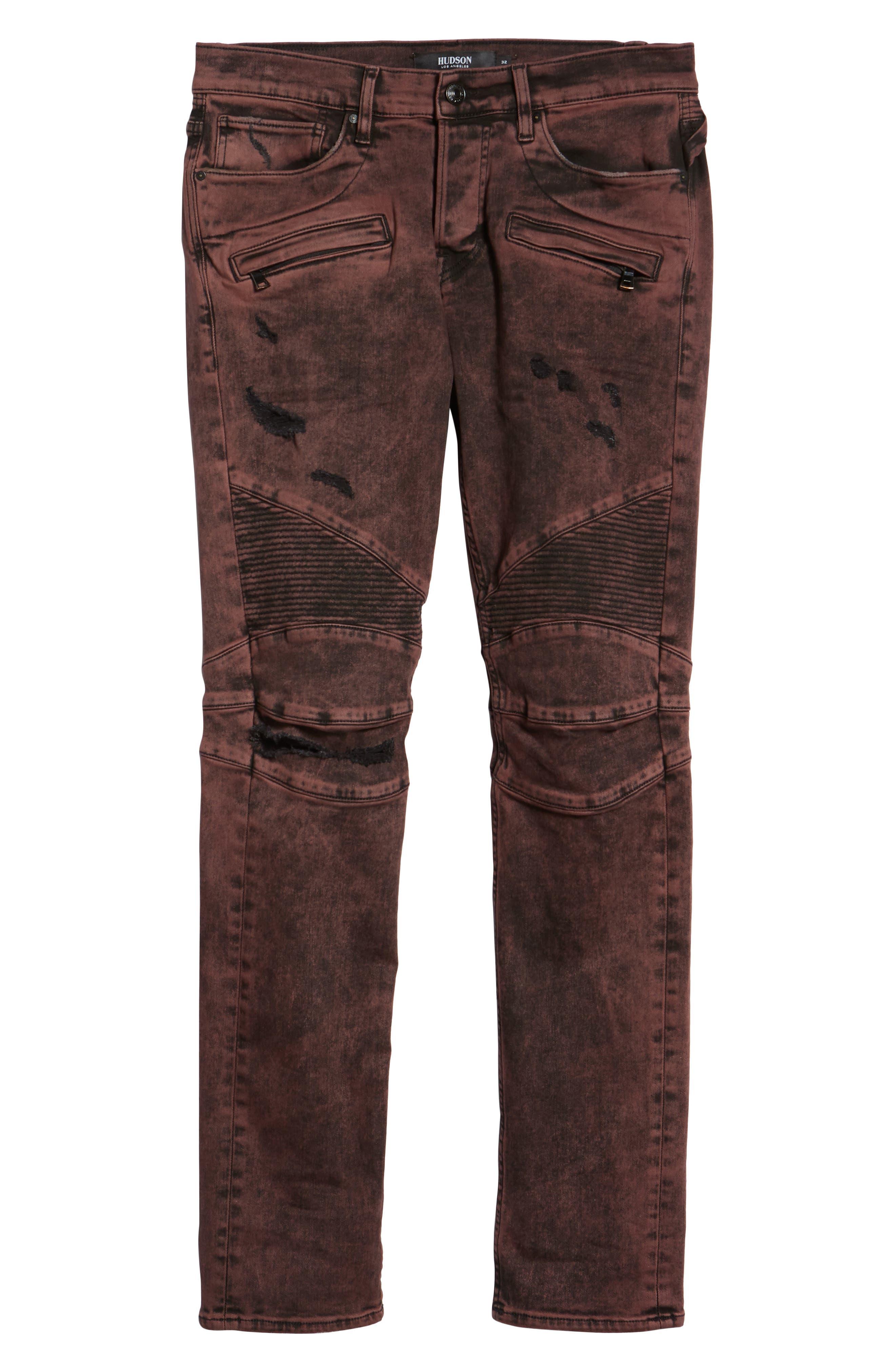 HUDSON JEANS, Blinder Biker Skinny Fit Jeans, Alternate thumbnail 6, color, FADED OX BLOOD
