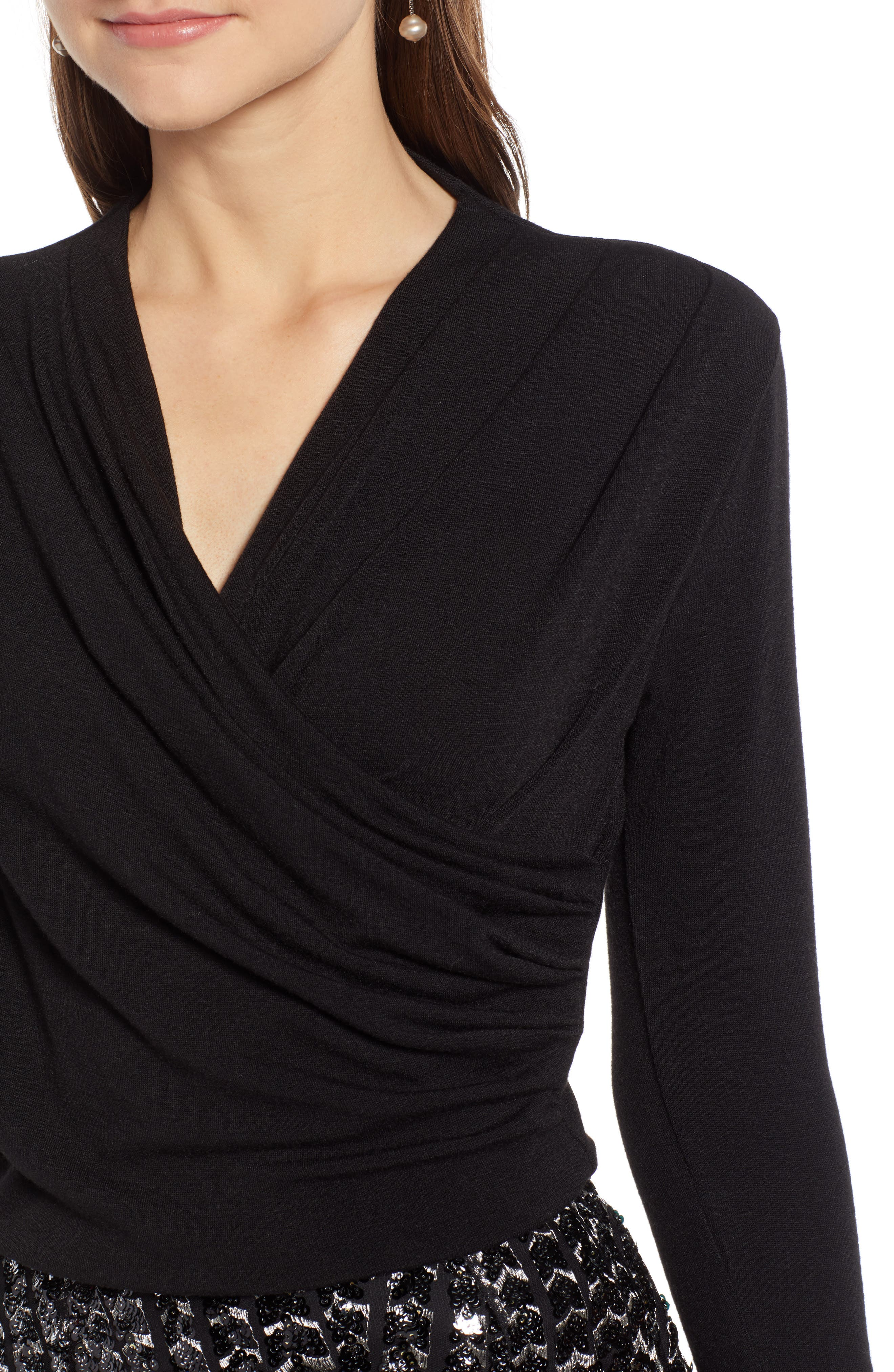 SOMETHING NAVY, Wrap Front Knit Top, Alternate thumbnail 5, color, 001